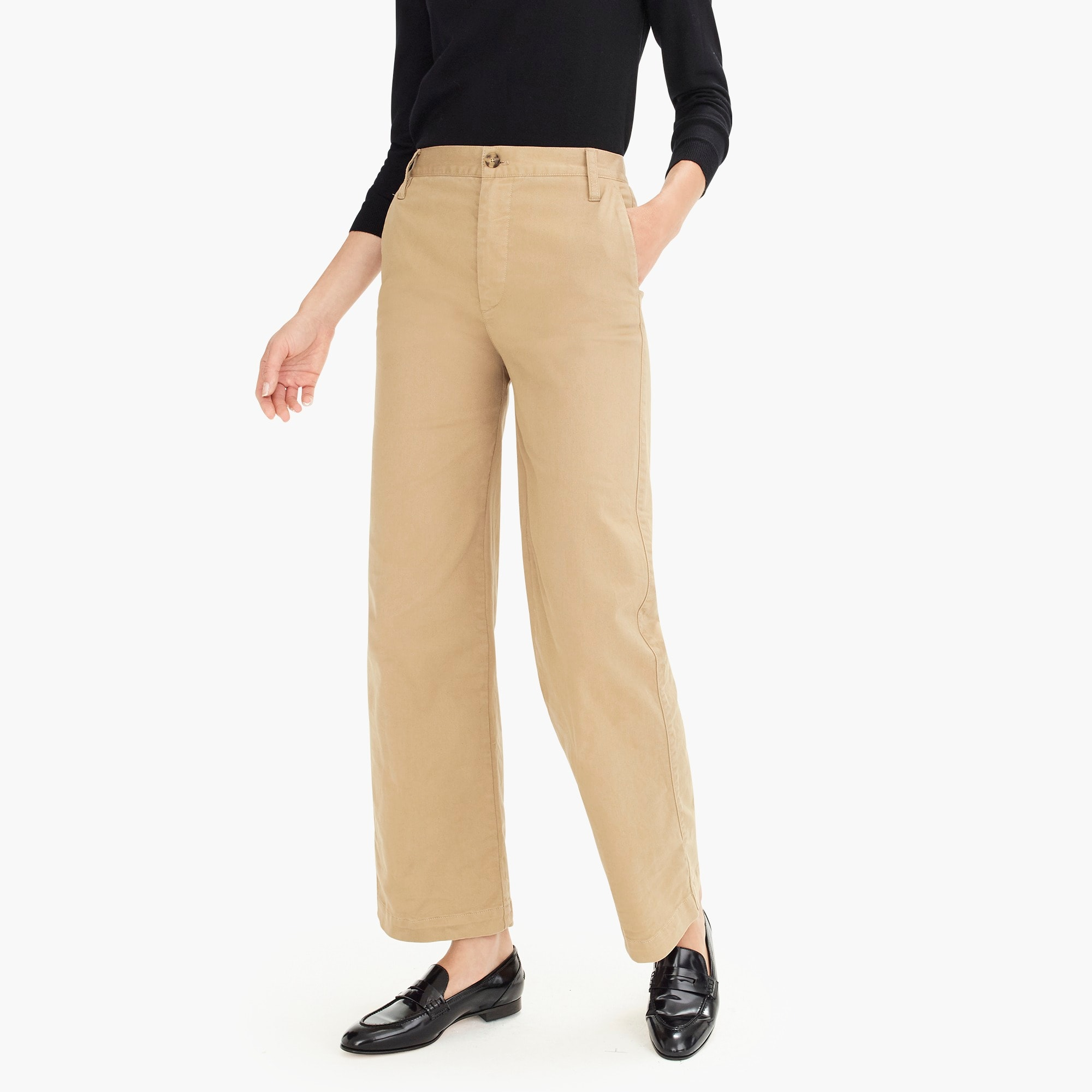 Petite full-length wide-leg chino pant