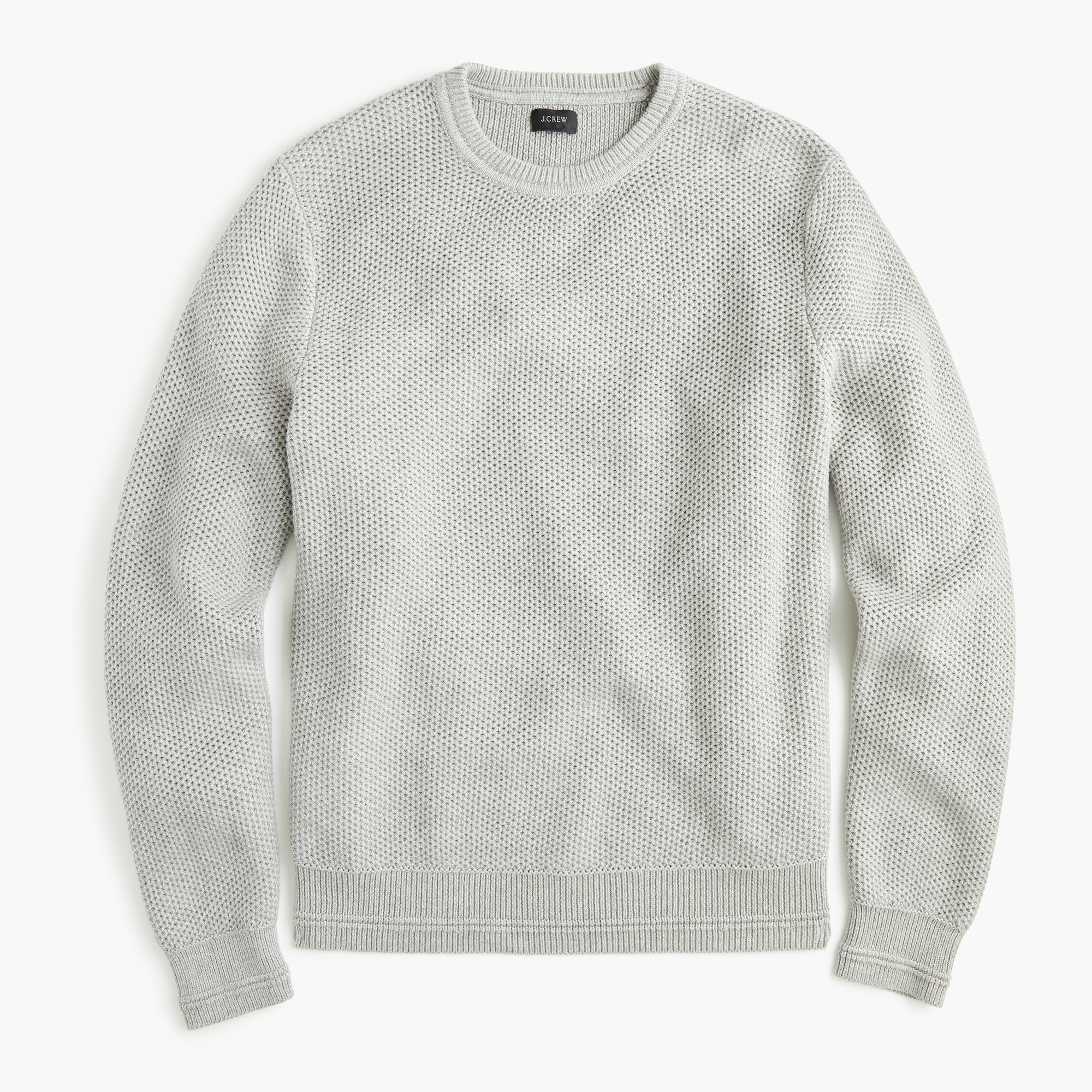 Image 1 for Cotton crewneck sweater in honeycomb knit