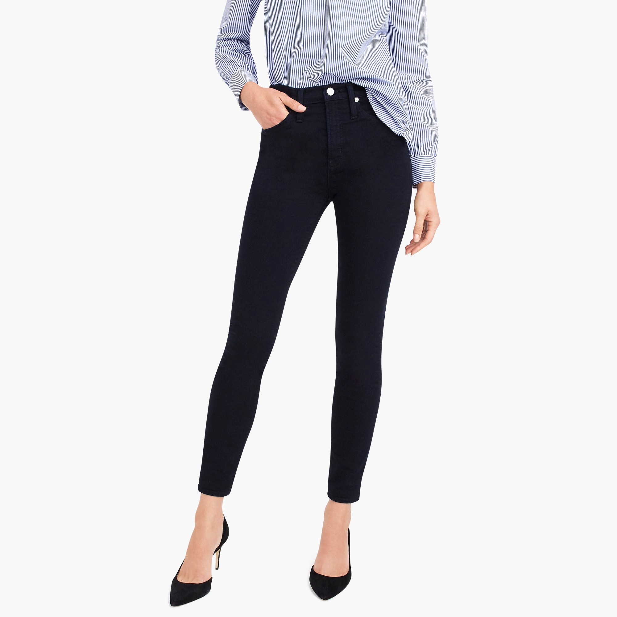 "womens Tall 10"" highest-rise toothpick jean in blue black"