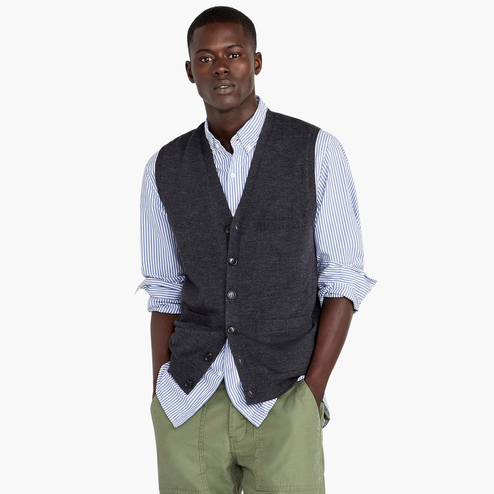 Merino wool V-neck cardigan vest
