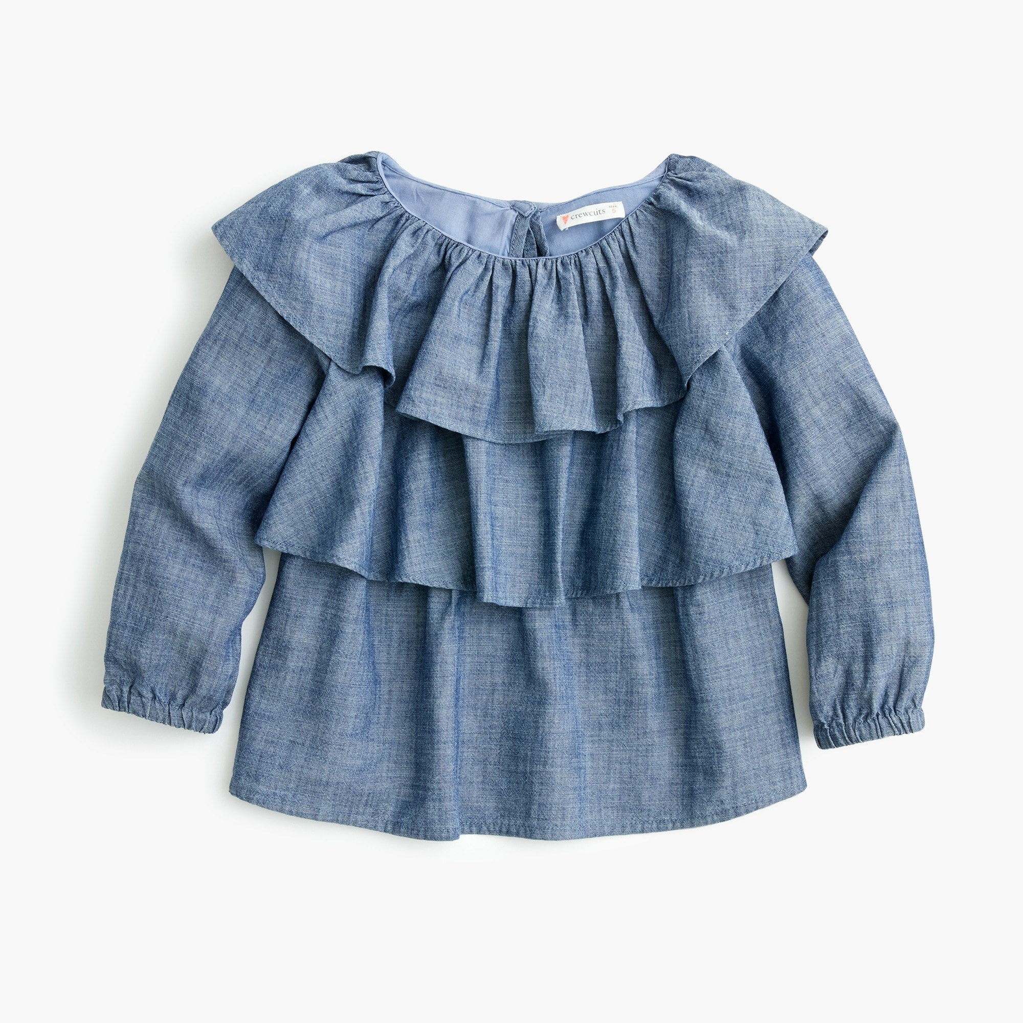 girls Girls' ruffle-trimmed top in chambray