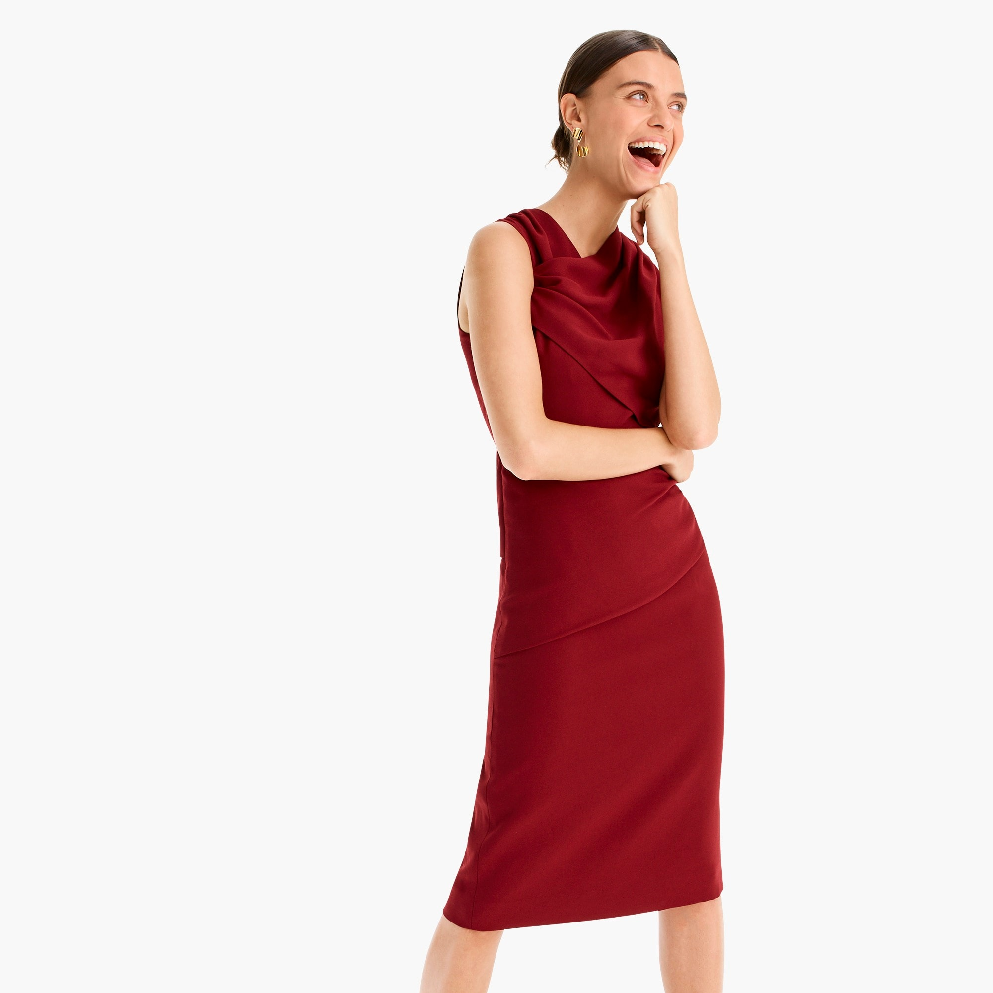 High-neck drape sheath dress in lucky crepe