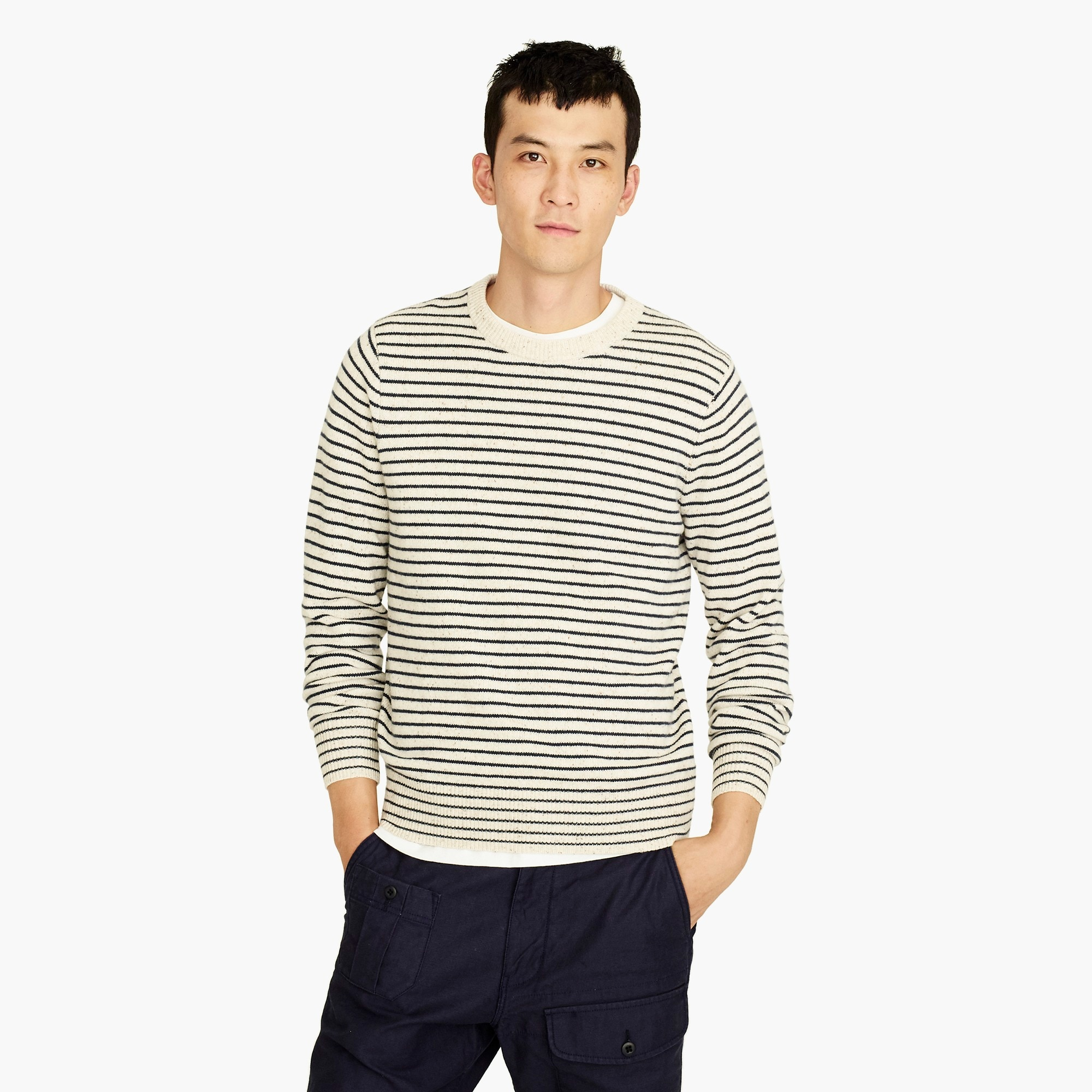mens Rugged merino crewneck sweater in stripe