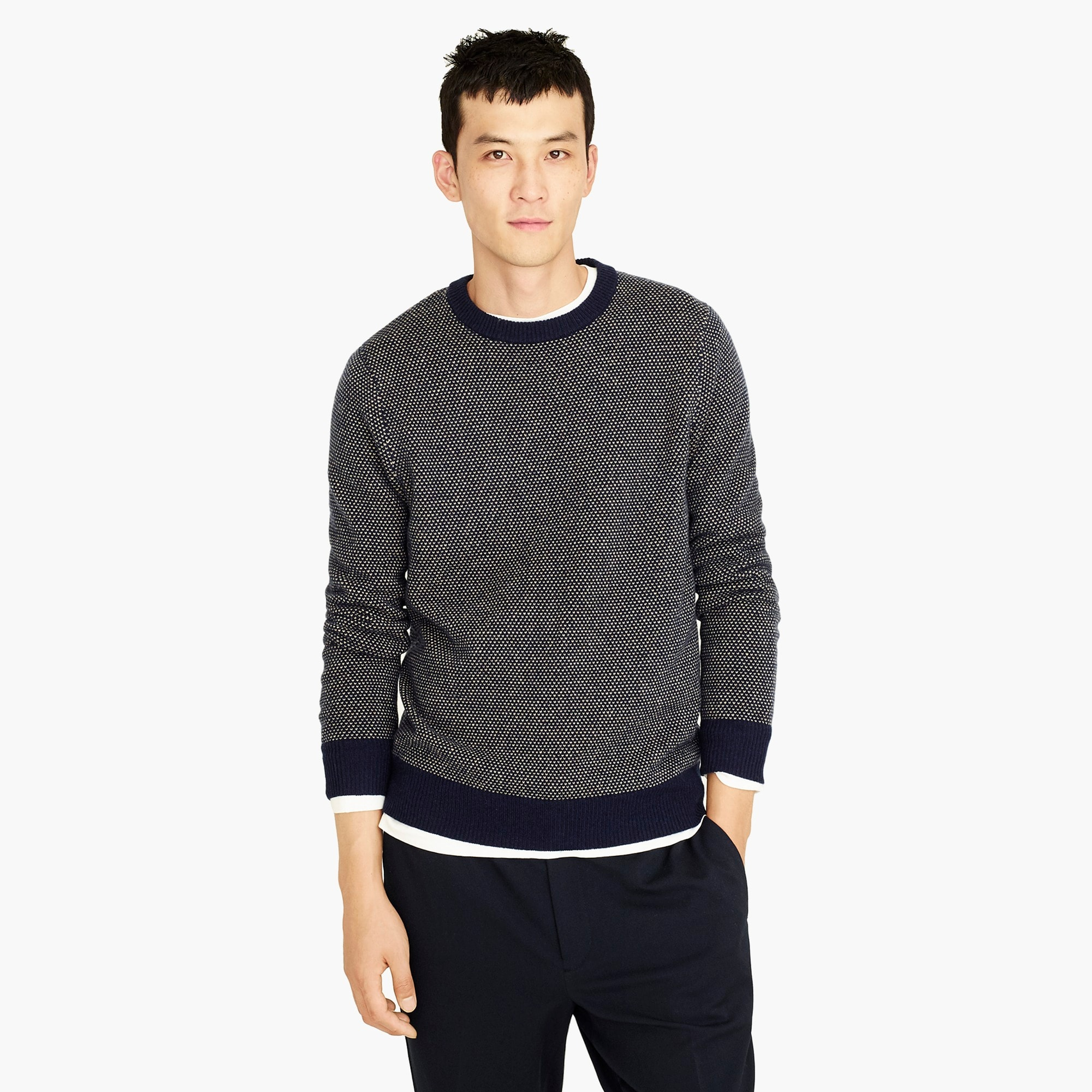 mens Rugged merino wool bird's-eye crewneck sweater in navy