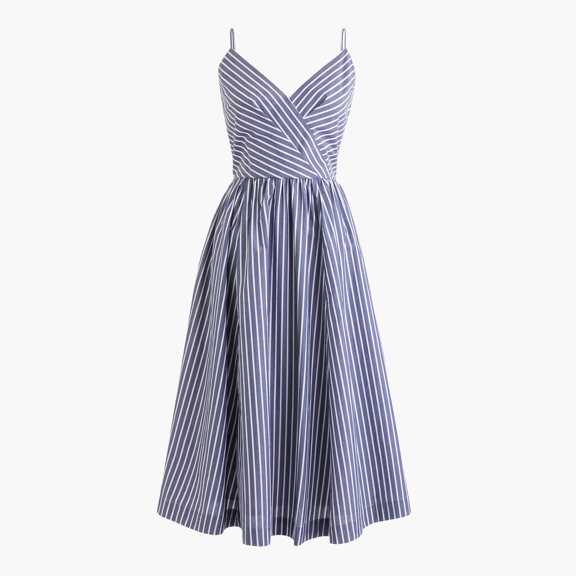 women's midi party dress in shirting stripes - women's dresses