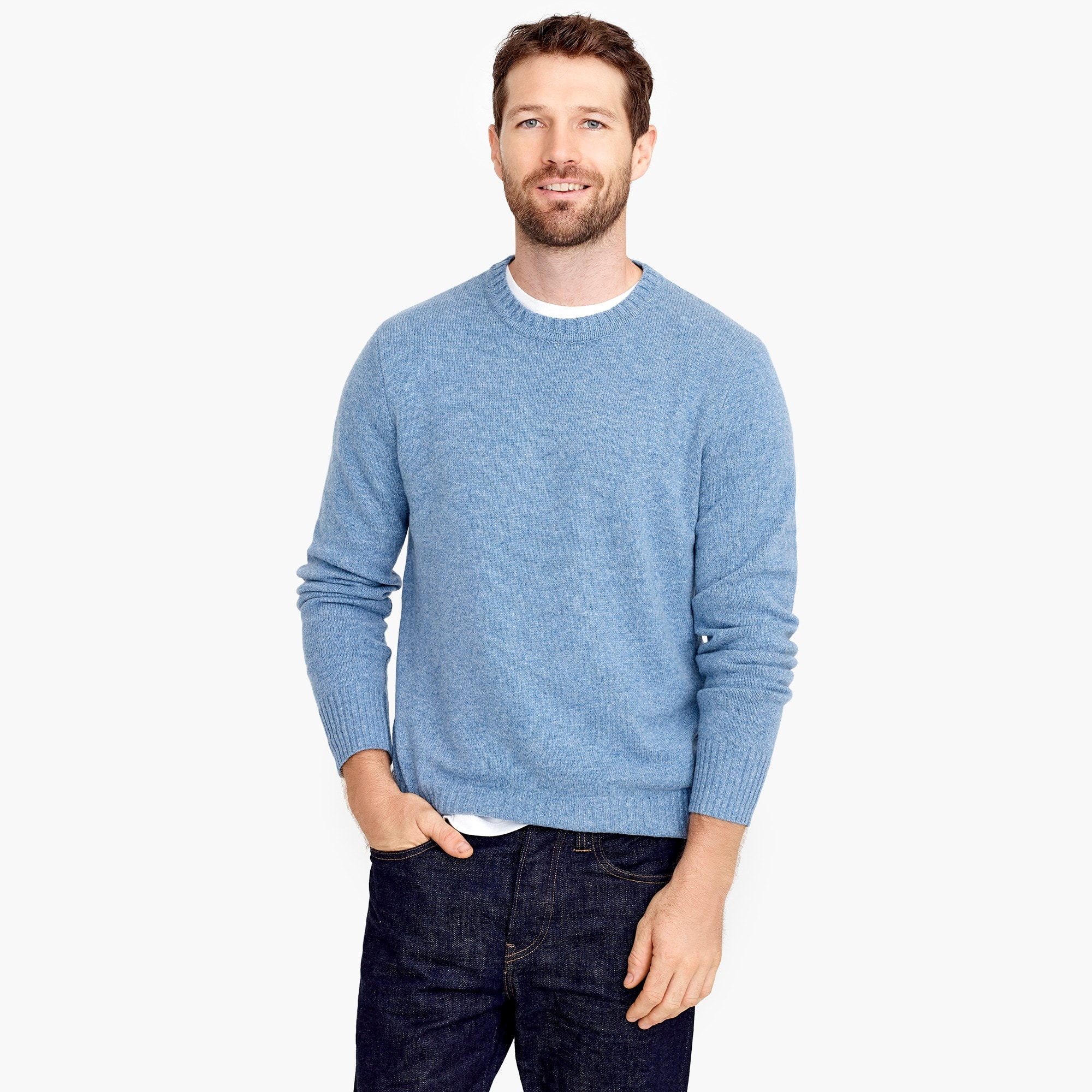 mens Rugged merino wool heather crewneck sweater