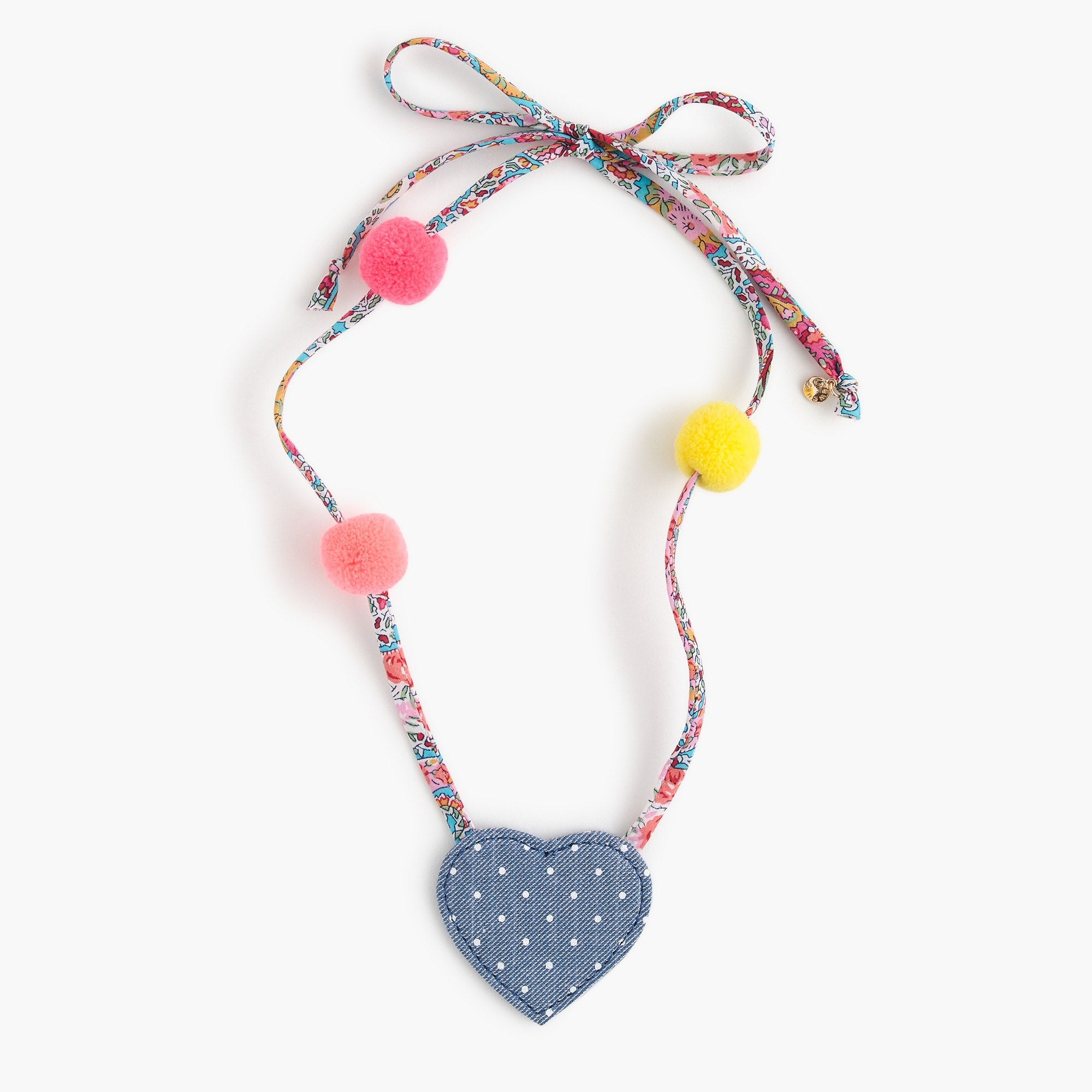 girls Girls' fabric necklace with hearts and pom-poms