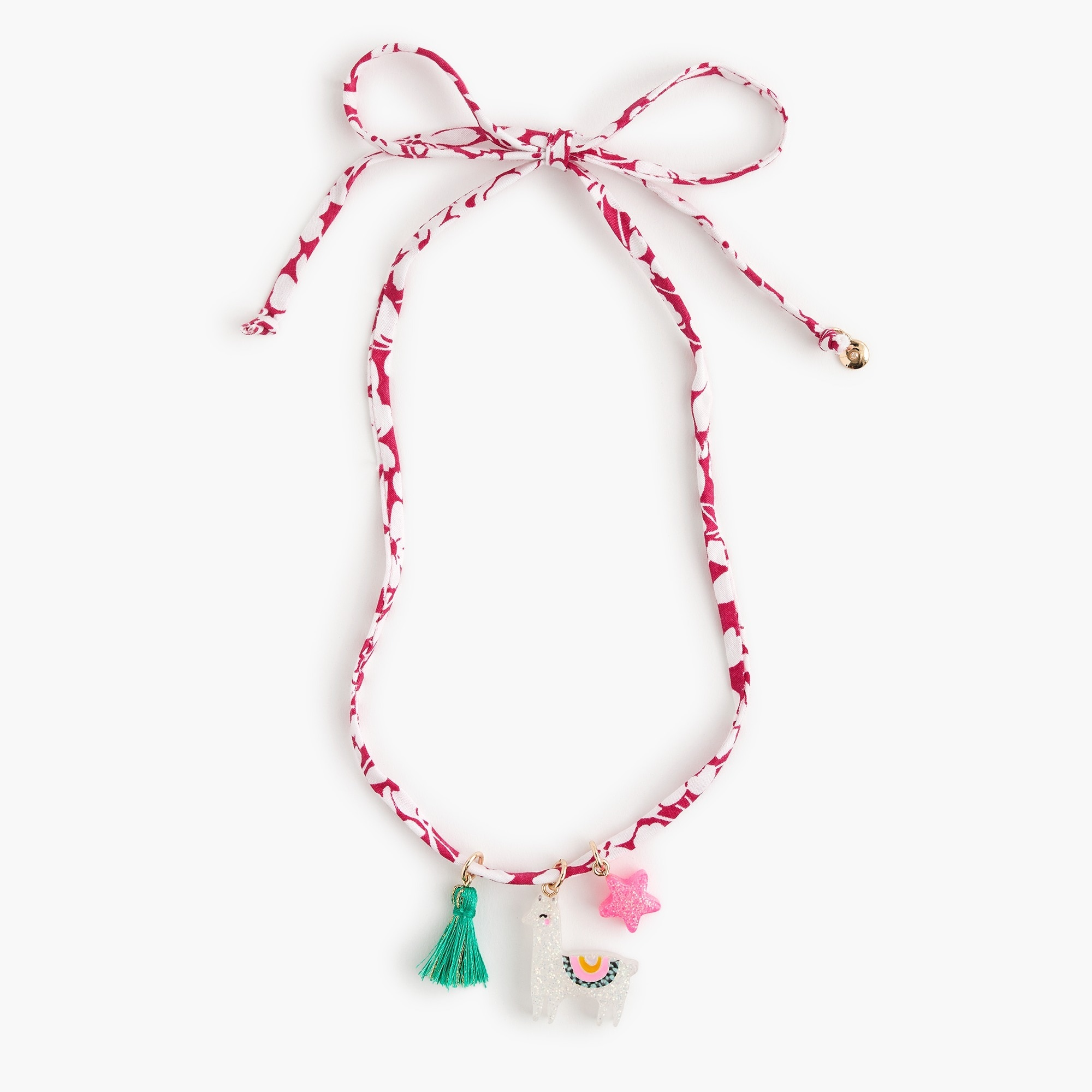 girls Girls' fabric necklace with llama charm and tassel