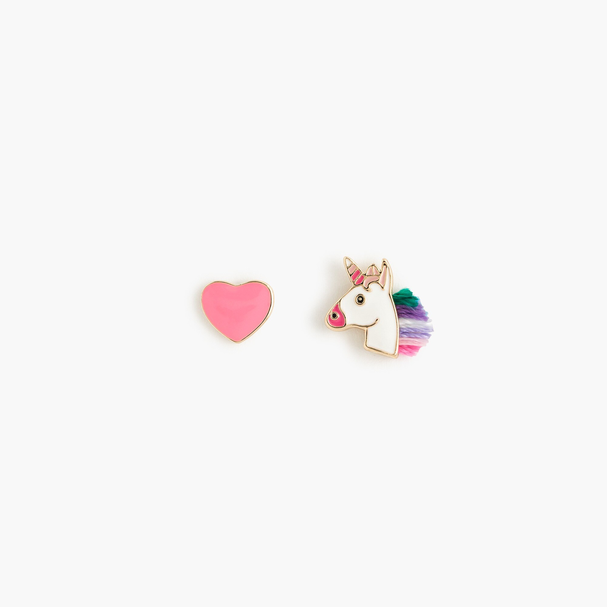 girls Girls' unicorn and heart stud earrings