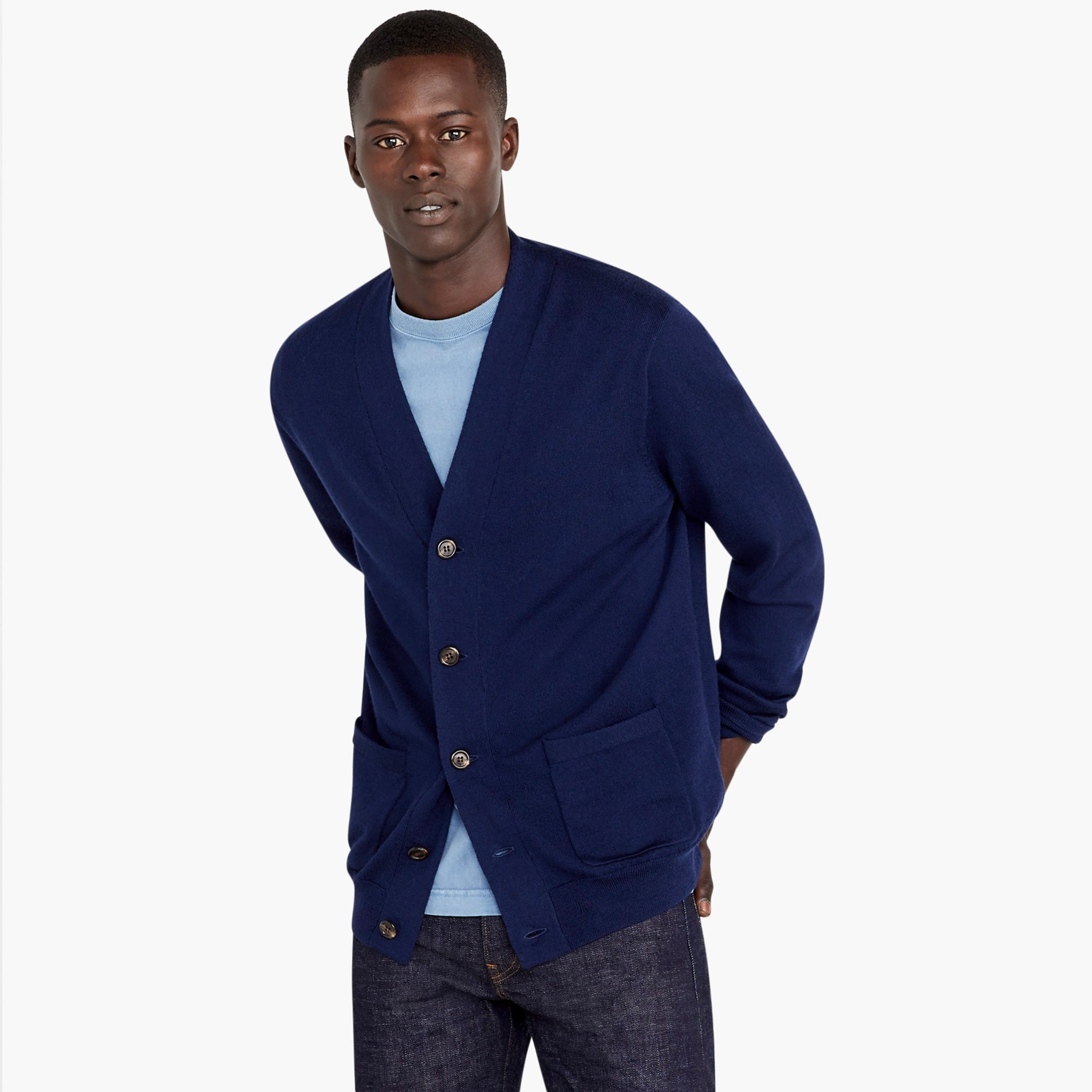 mens Merino wool wide placket V-neck cardigan