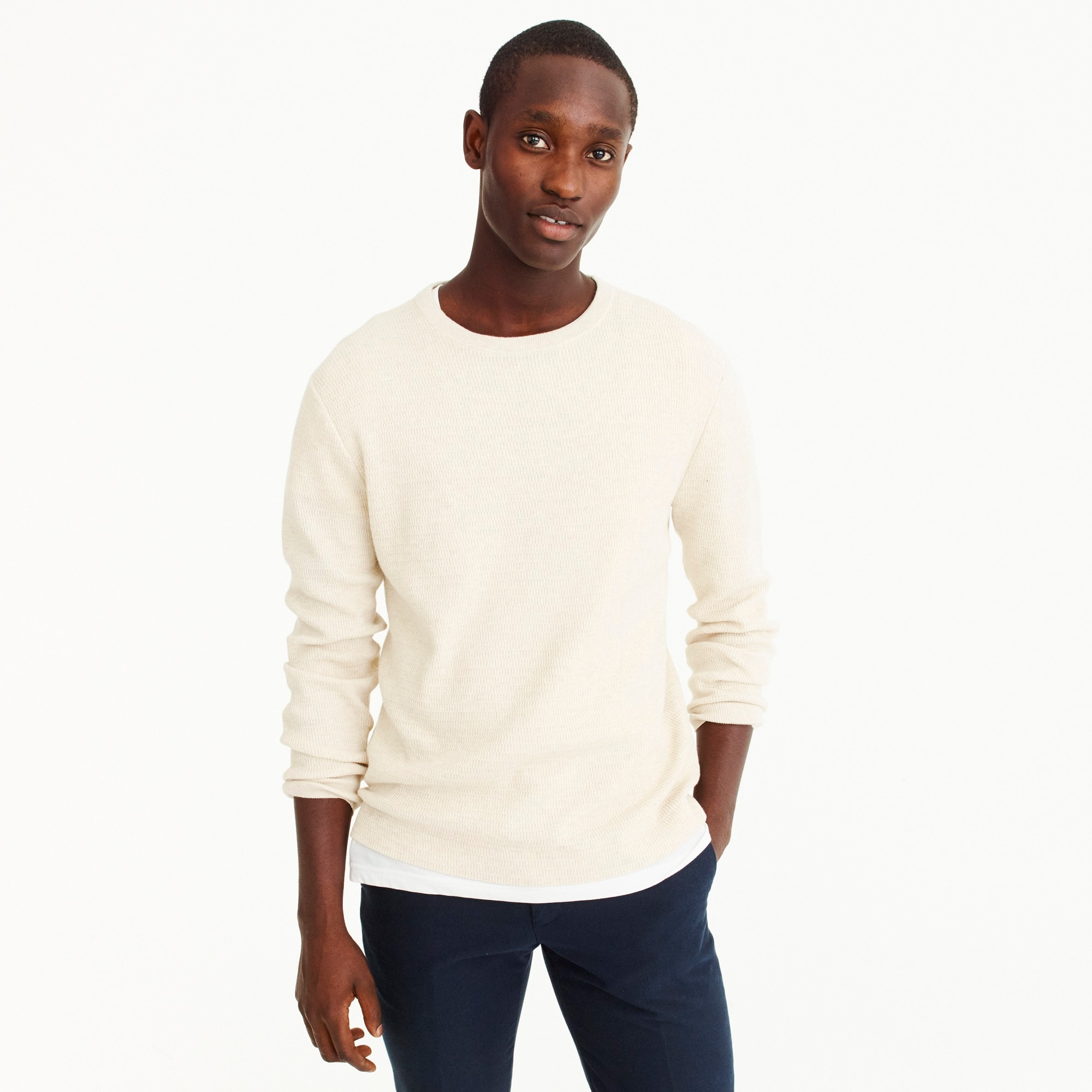 mens Cotton thermal knit crew neck sweater
