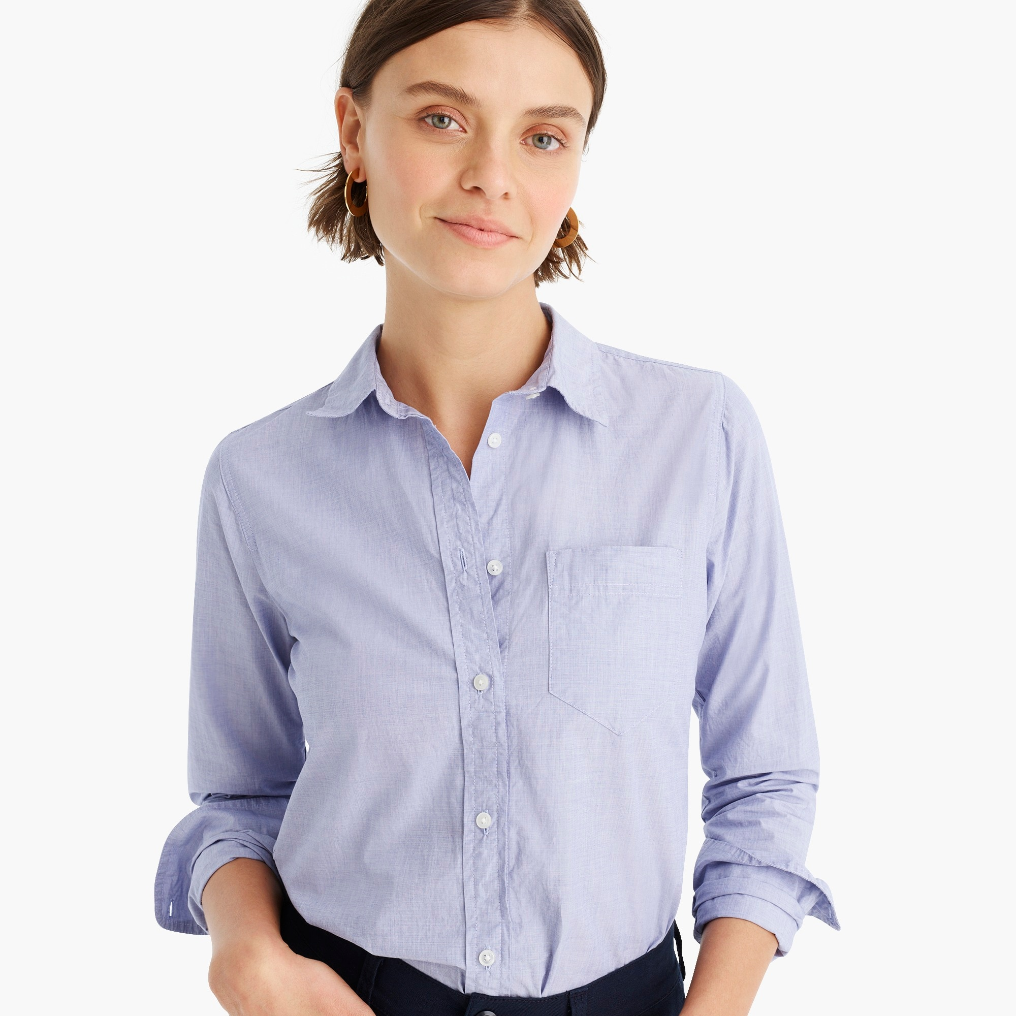 Classic-fit boy shirt in end-on-end cotton