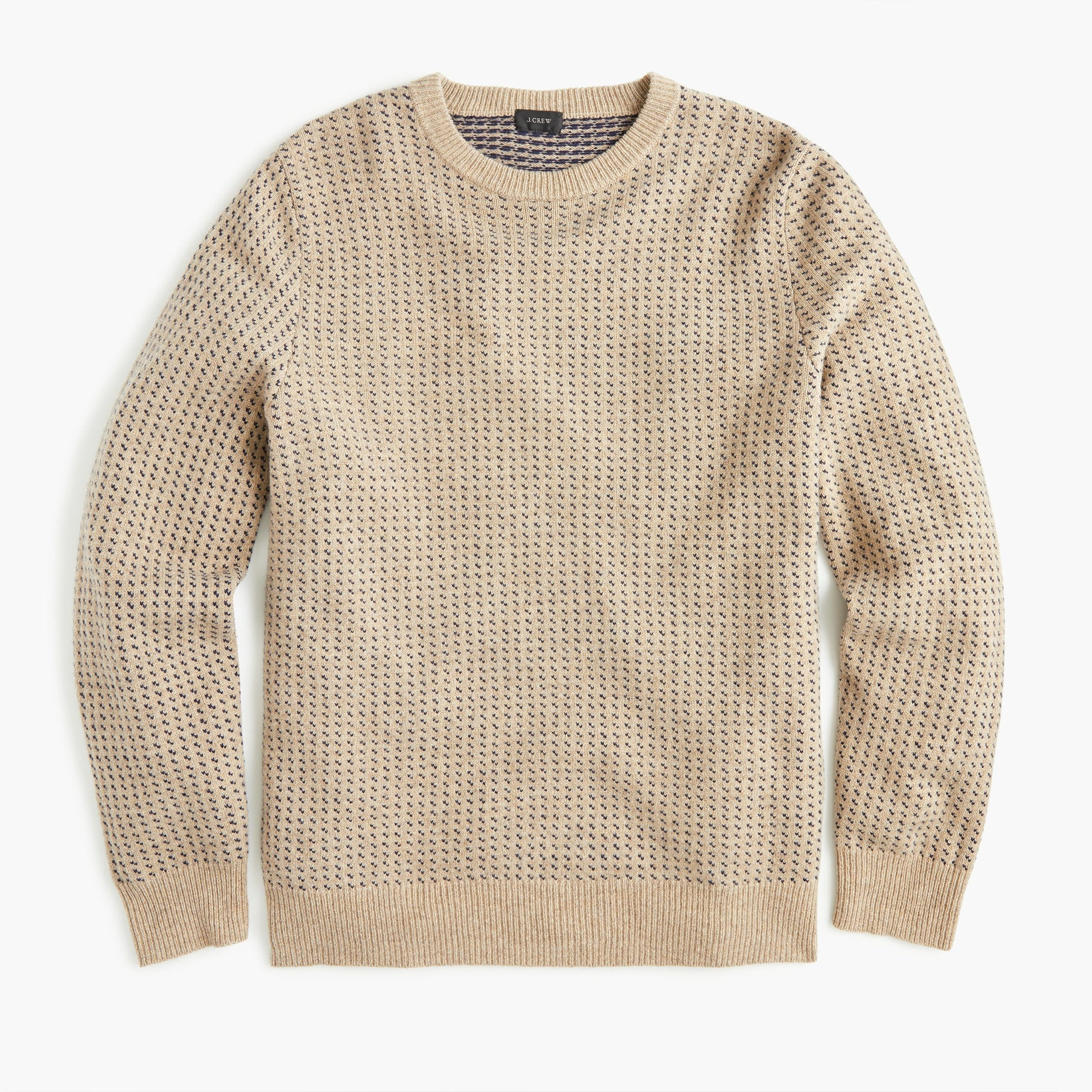 rugged merino wool bird's-eye crewneck sweater : men pullover