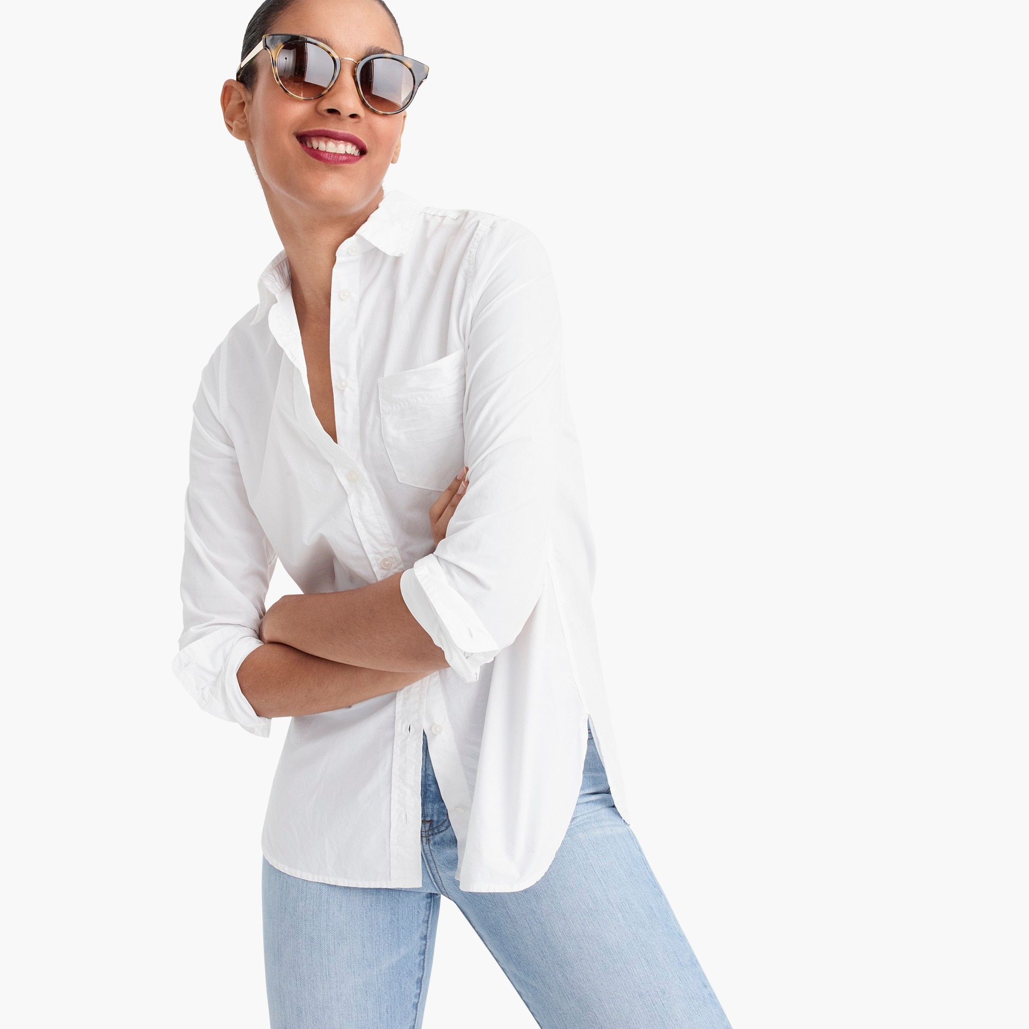 tall classic-fit boy shirt in cotton poplin : women button-ups