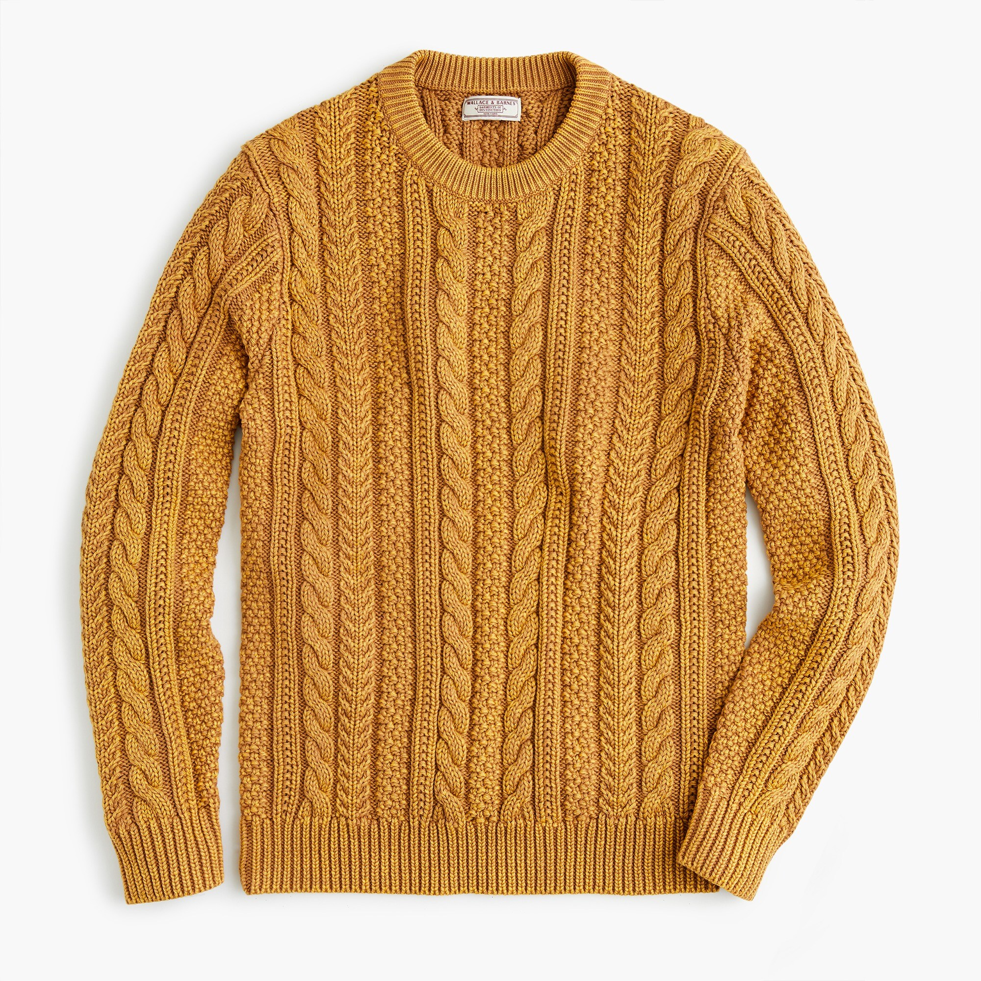 mens Wallace & Barnes cable-knit crew neck sweater in washed cotton