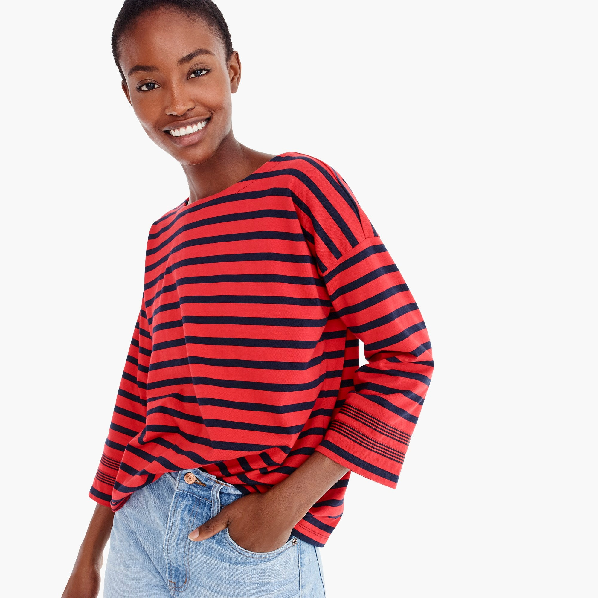 womens Striped T-shirt with grosgrain trim