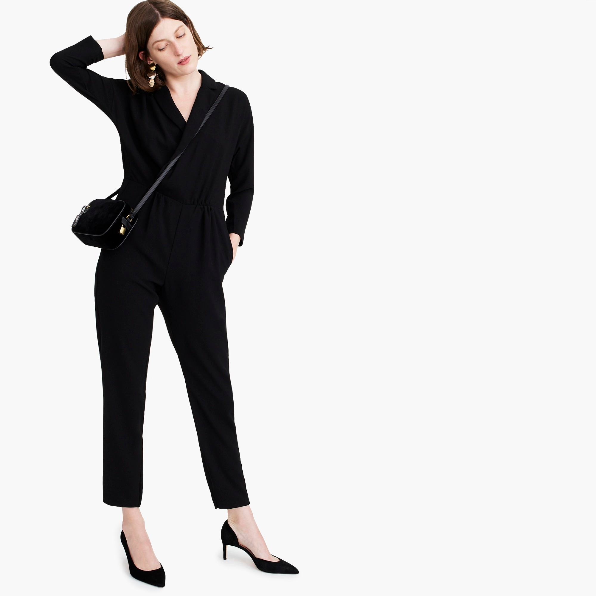 womens Lapel jumpsuit in everyday crepe