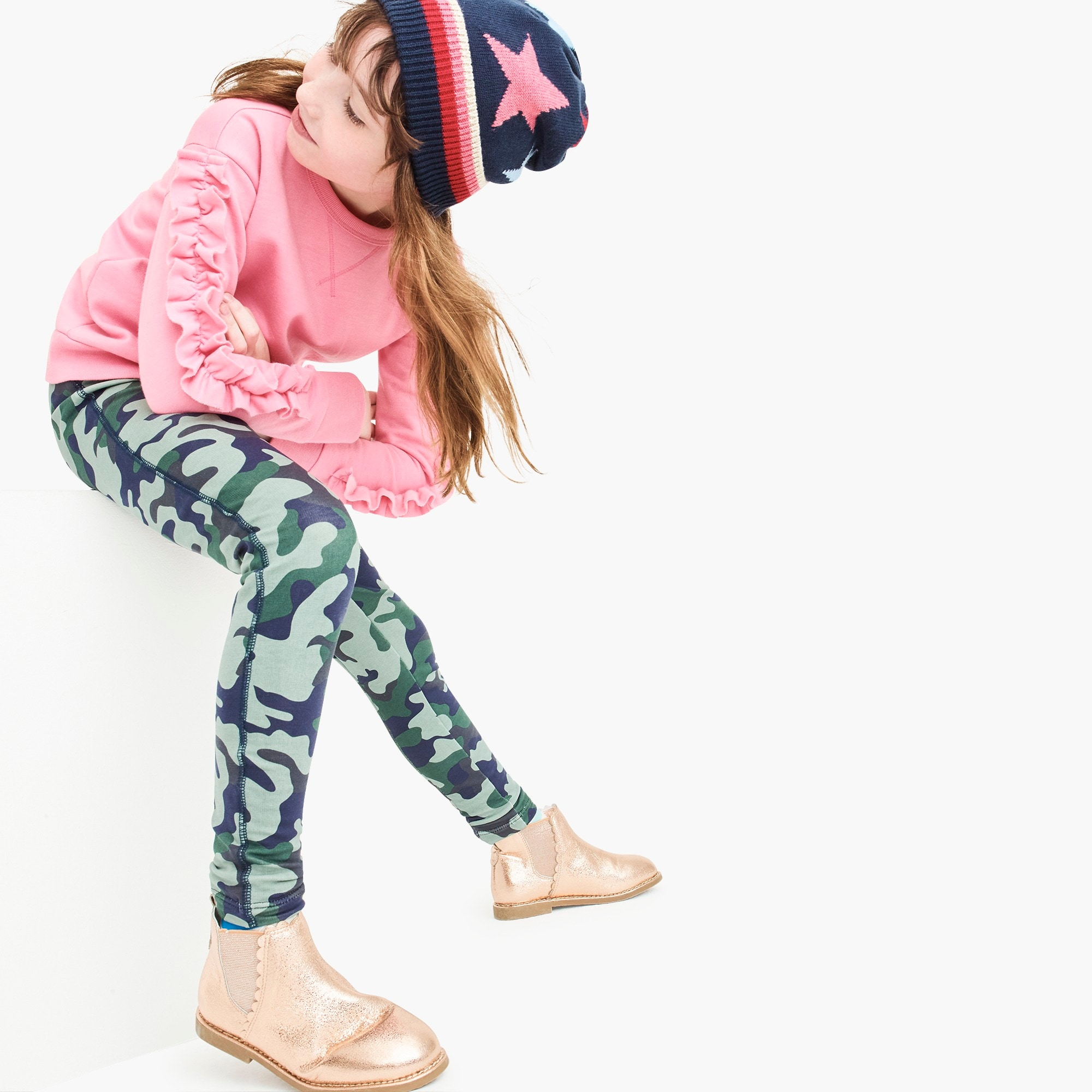 girls' cozy everyday leggings in camo : girl cozy legging