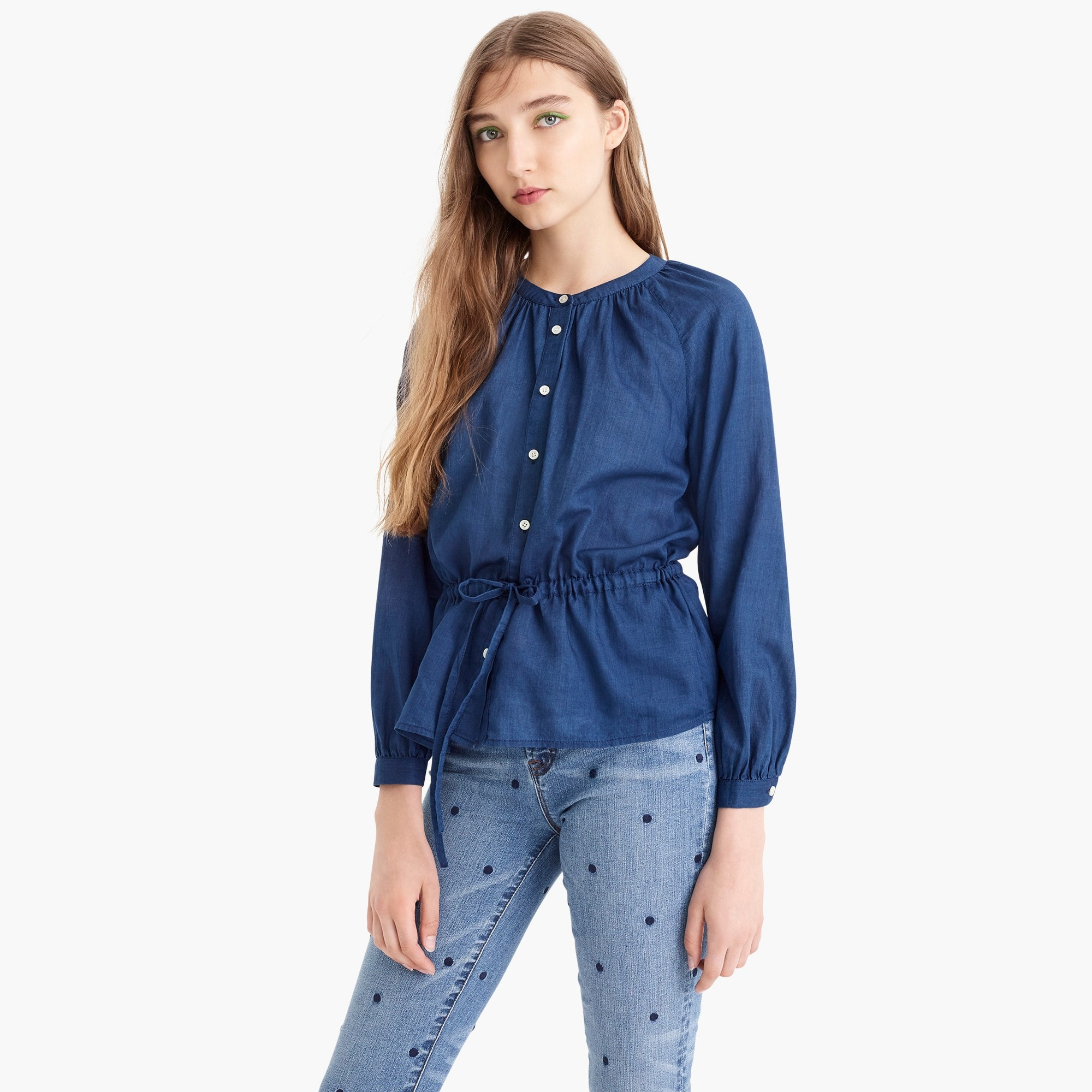 Image 3 for Tall tie-waist top in indigo gauze