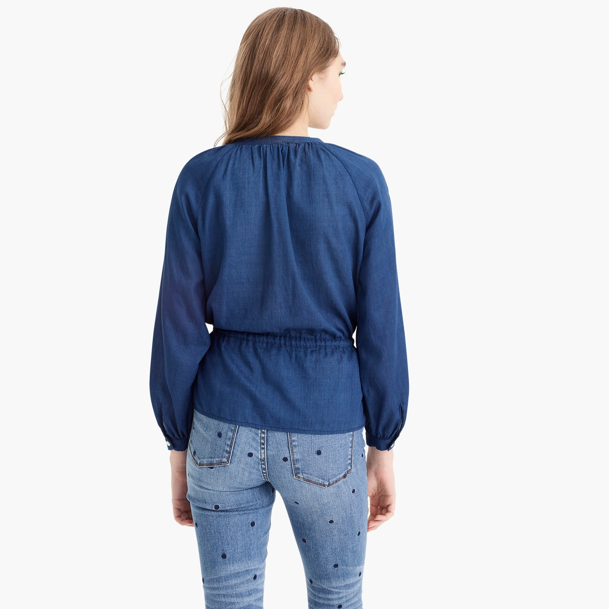 Tall tie-waist top in indigo gauze