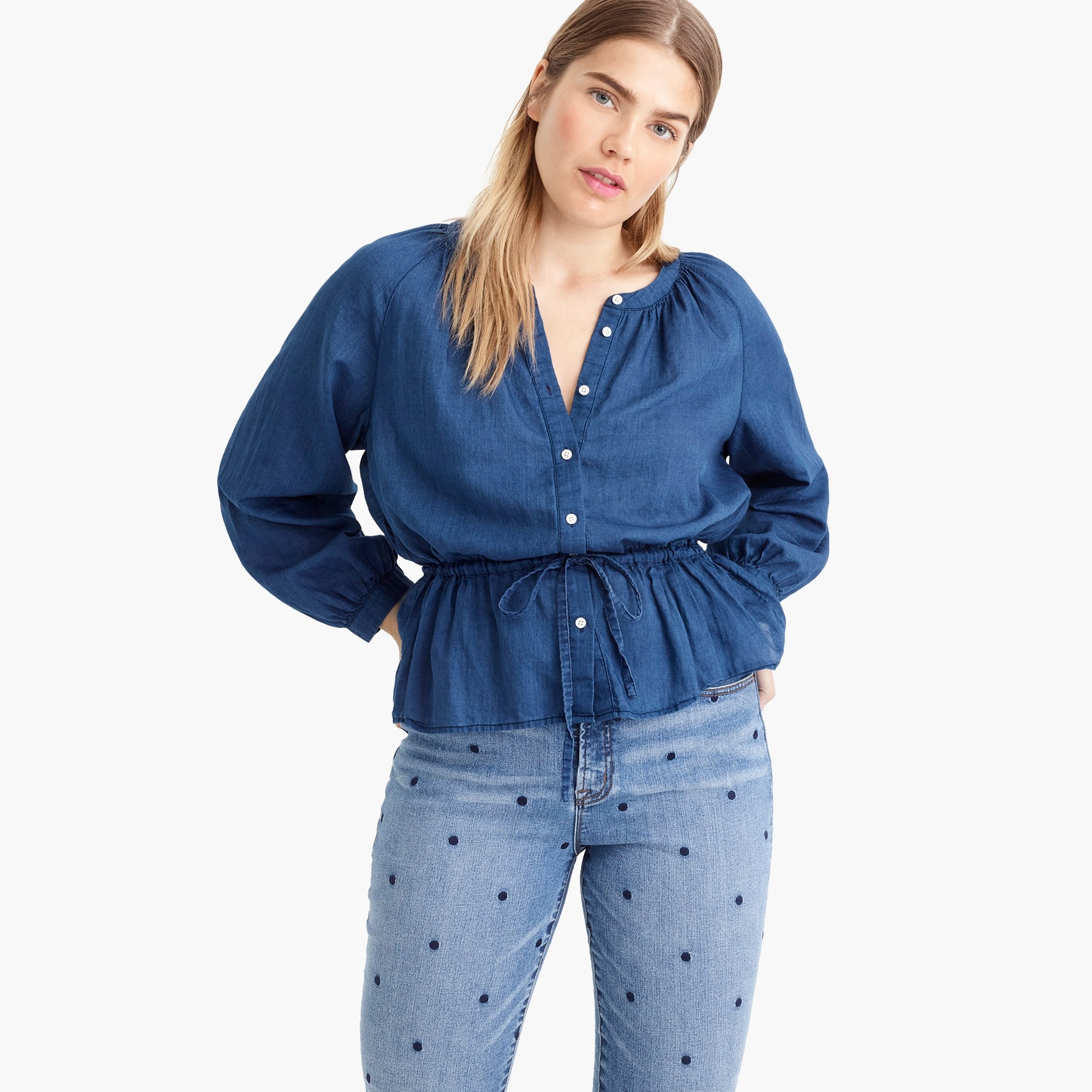 Image 1 for Tall tie-waist top in indigo gauze
