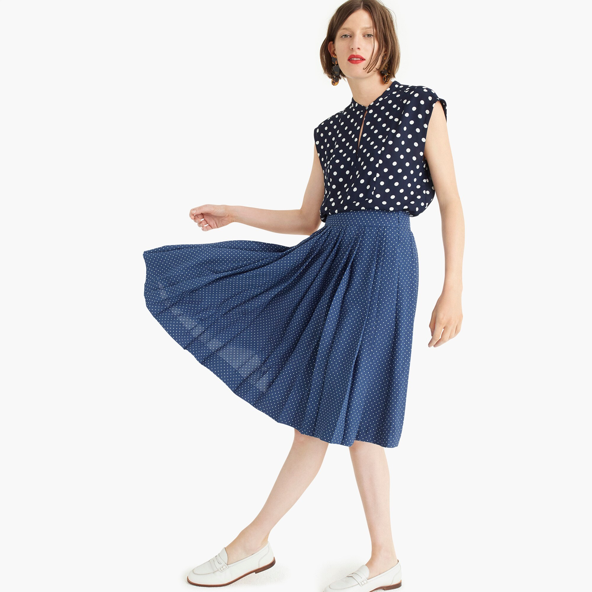 Image 1 for Double-pleated midi skirt in polka dot
