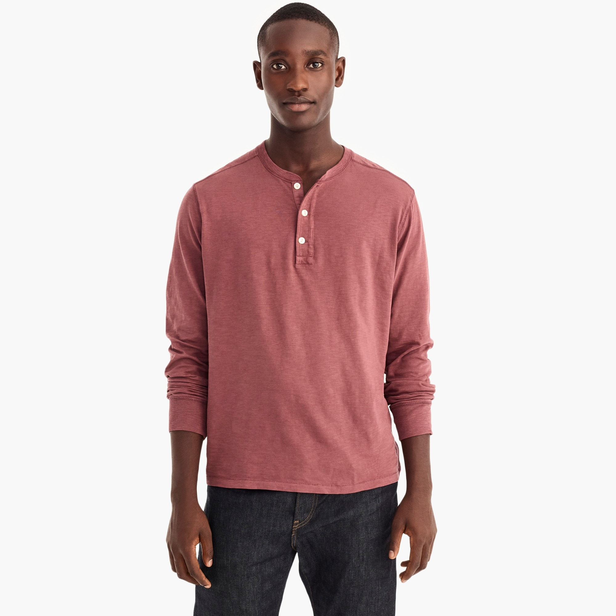 Tall garment-dyed slub cotton henley