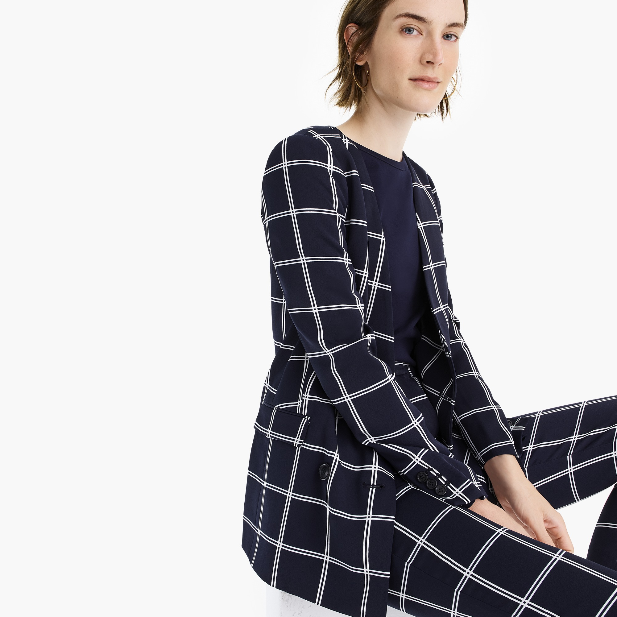 womens French girl blazer in windowpane everyday crepe