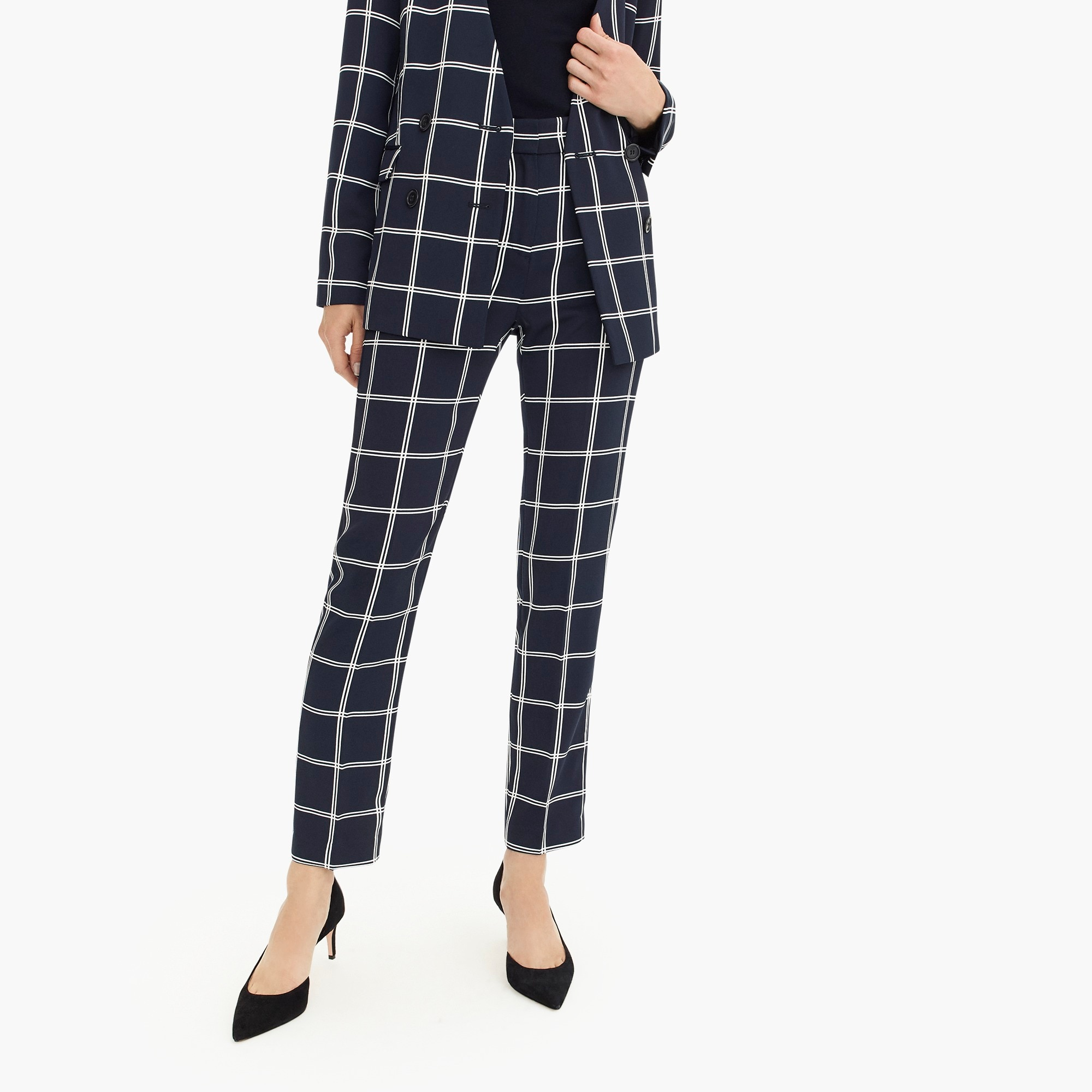 womens French girl slim crop pant in windowpane 365 crepe