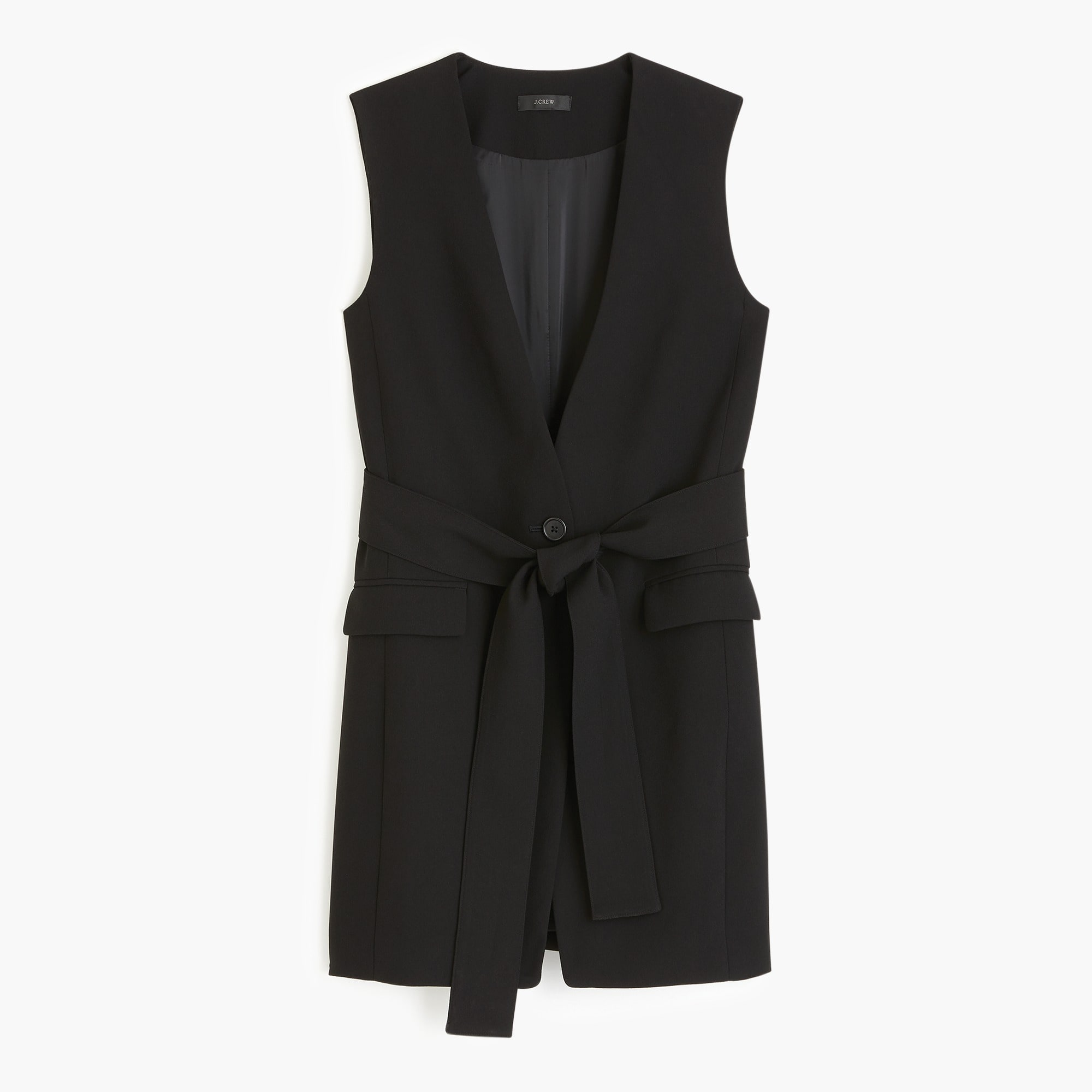 Sleeveless tie-waist blazer in everyday crepe