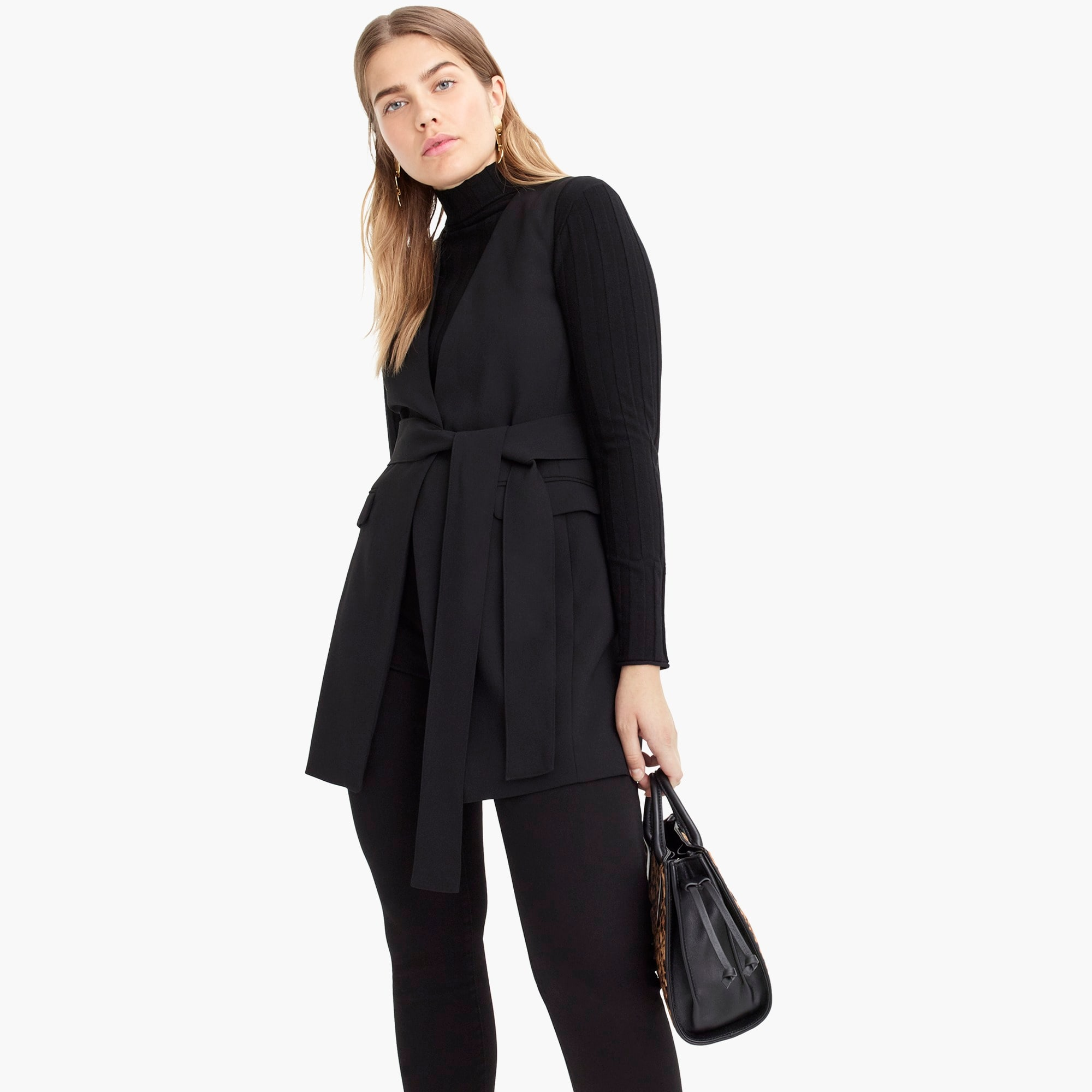 Image 1 for Sleeveless tie-waist blazer in everyday crepe