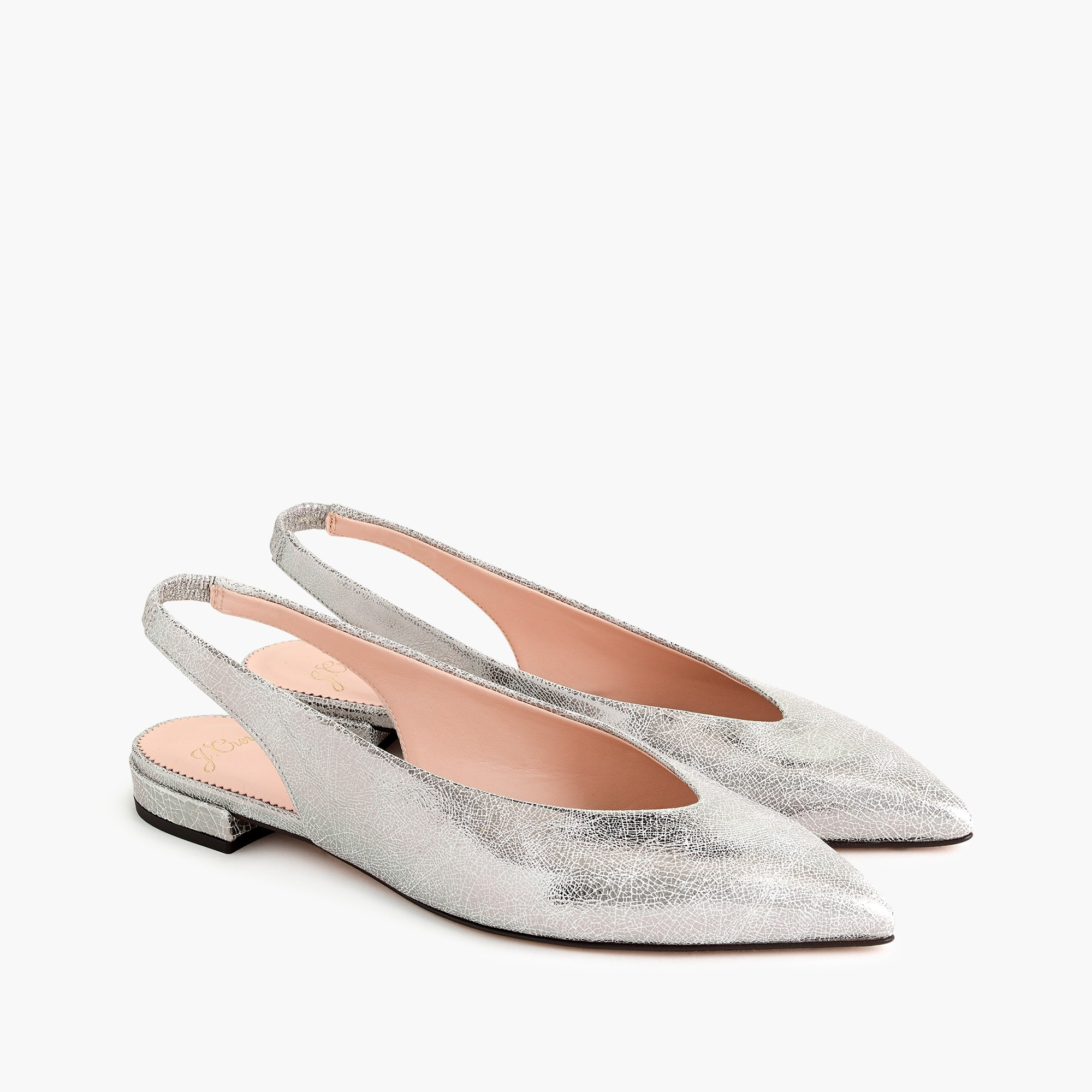 Image 3 for Pointed-toe slingback flats in metallic cracked-leather
