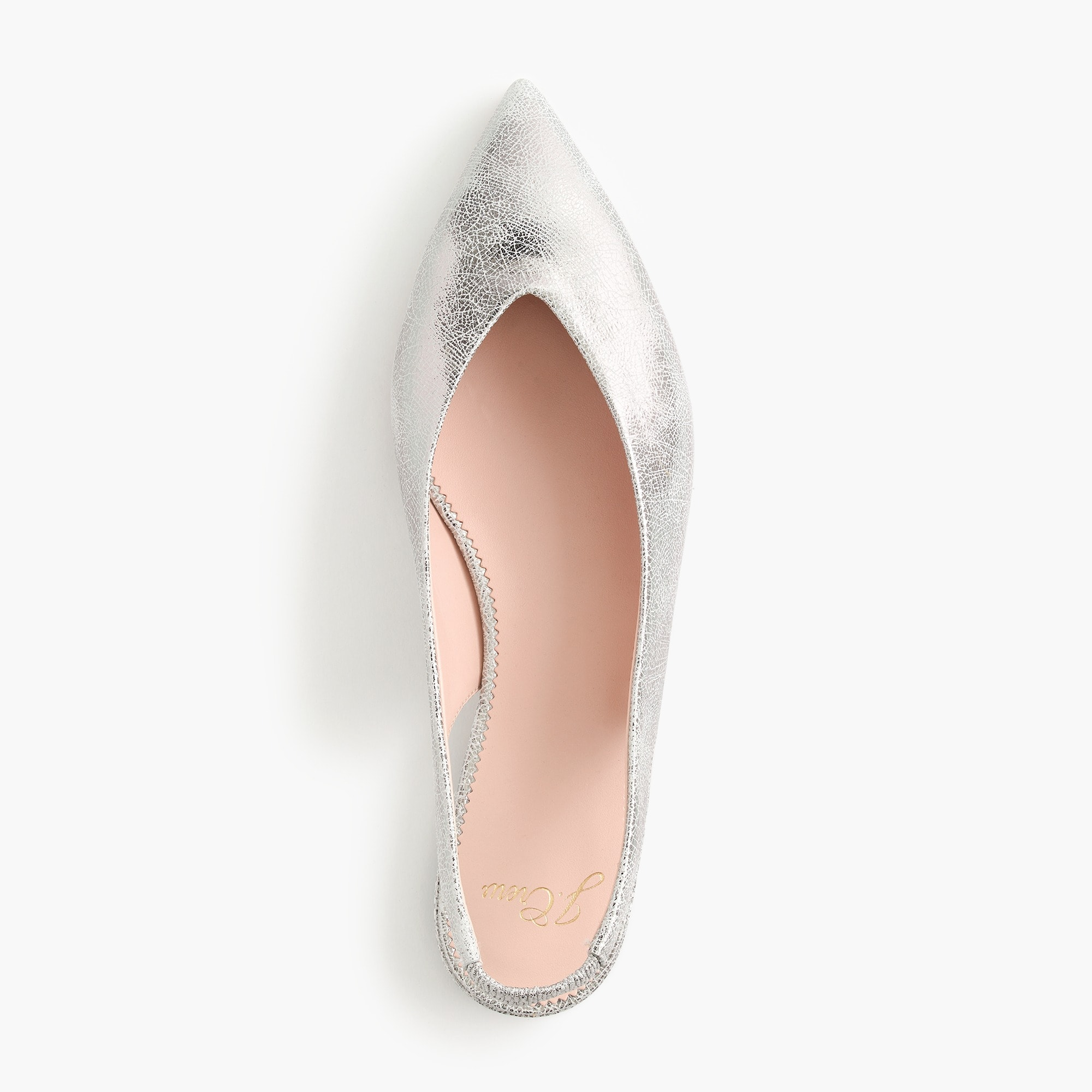 Image 1 for Pointed-toe slingback flats in metallic cracked-leather