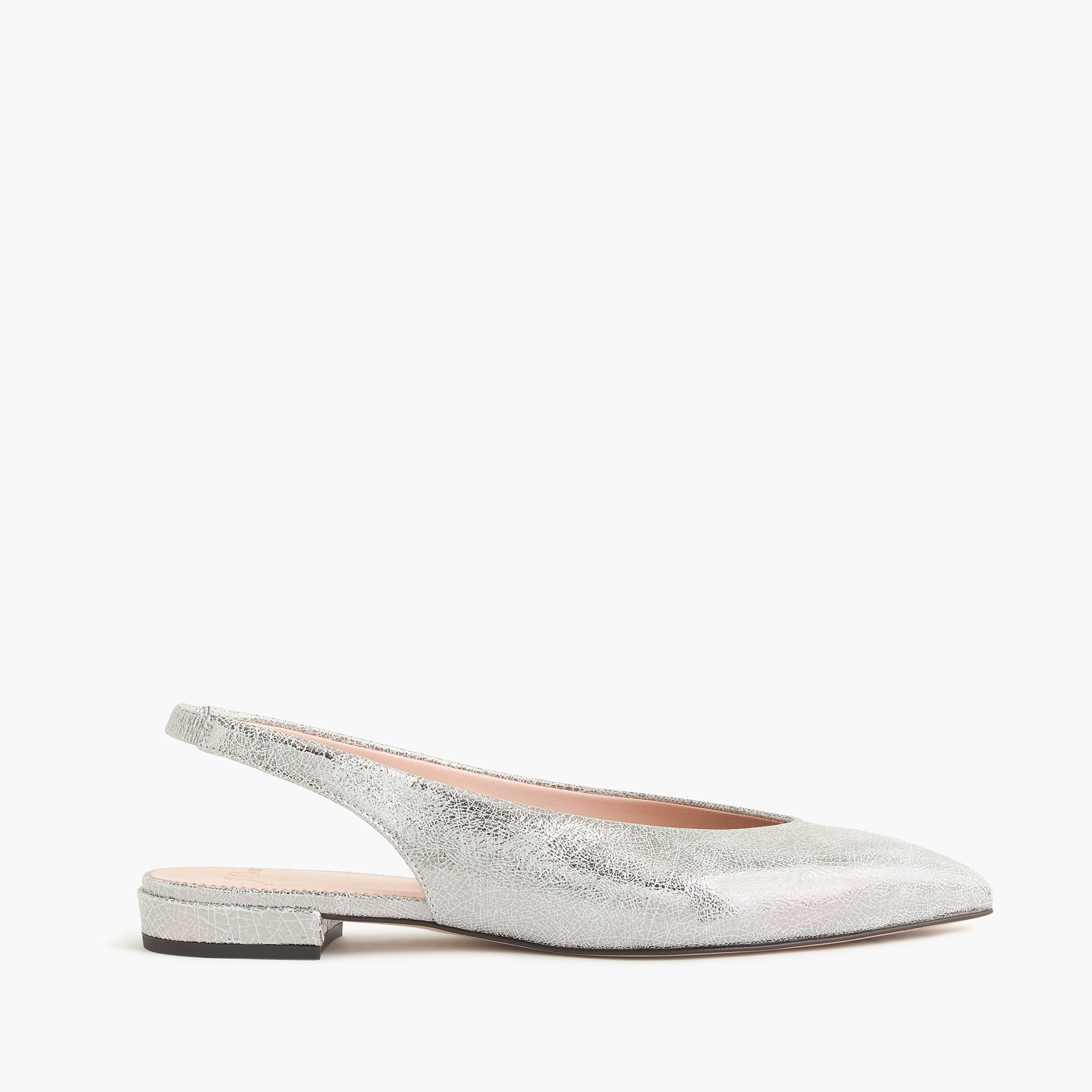 Pointed-toe slingback flats in metallic cracked-leather