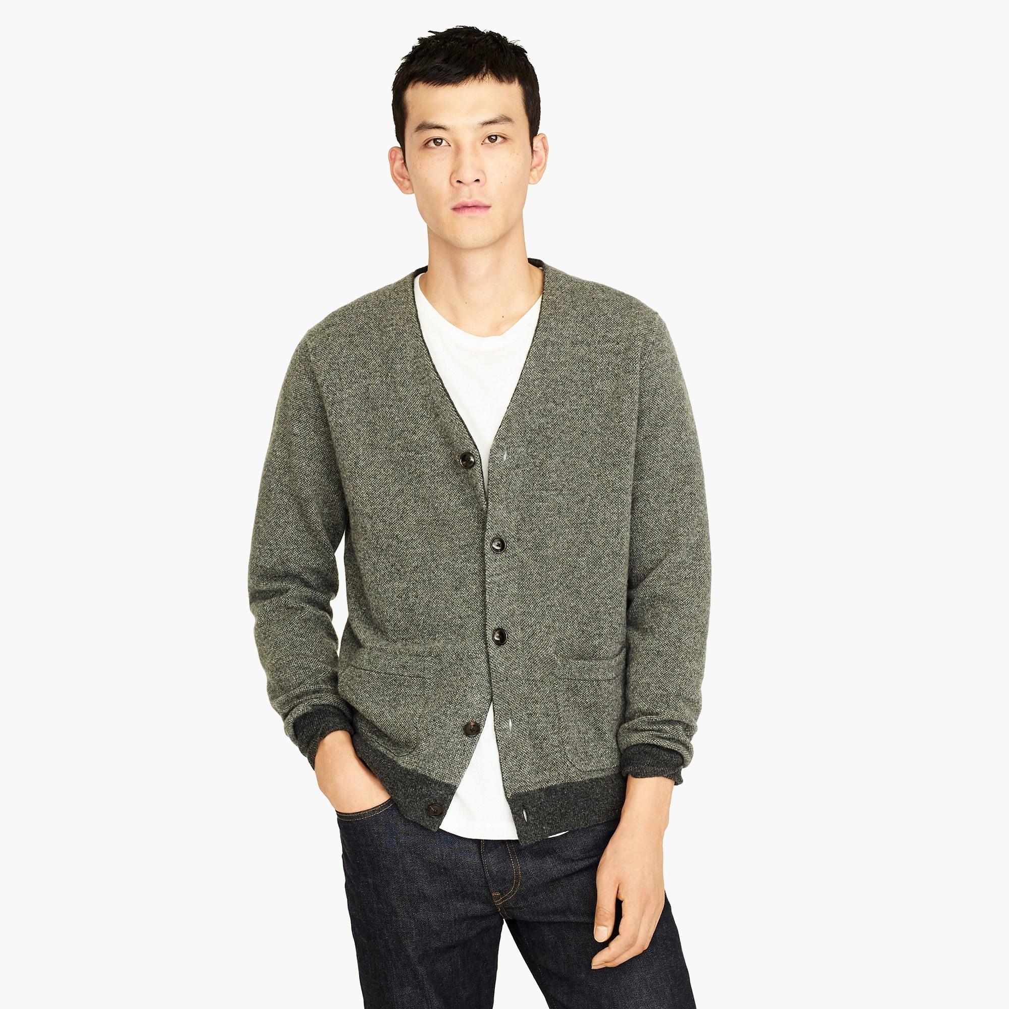 mens American lambswool bird's-eye cardigan sweater