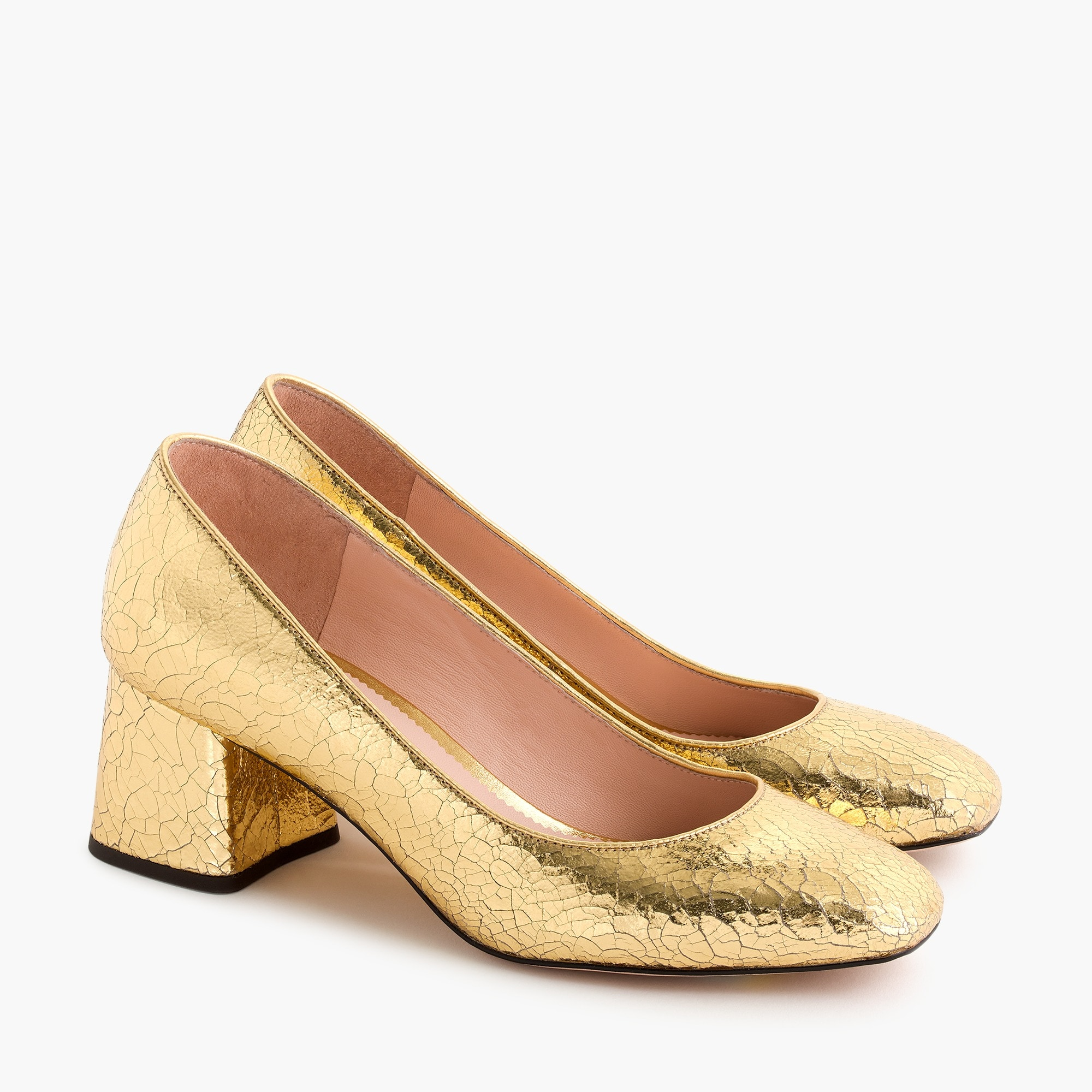 womens Block-heel pumps in cracked metallic leather