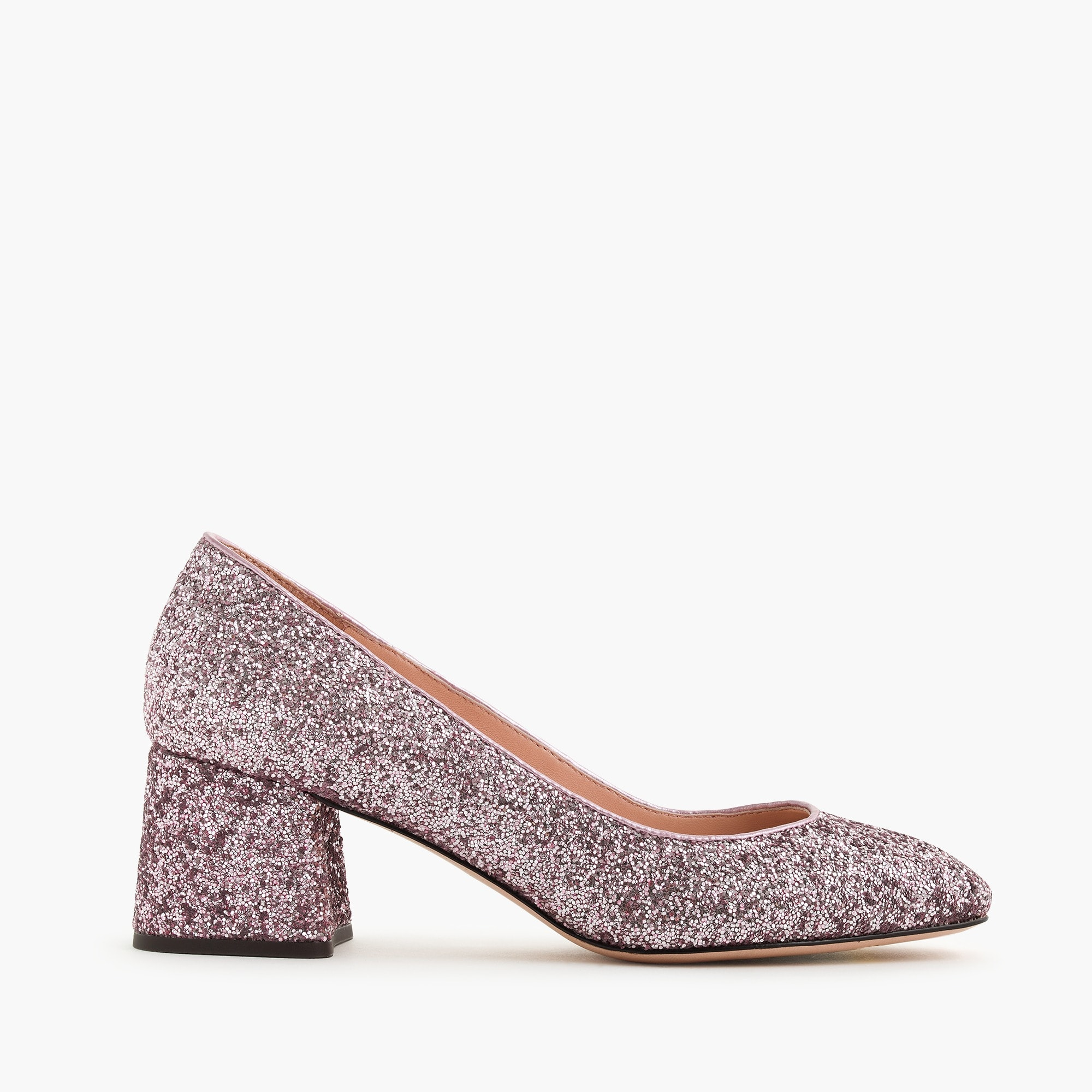 Block-heel pumps in glitter