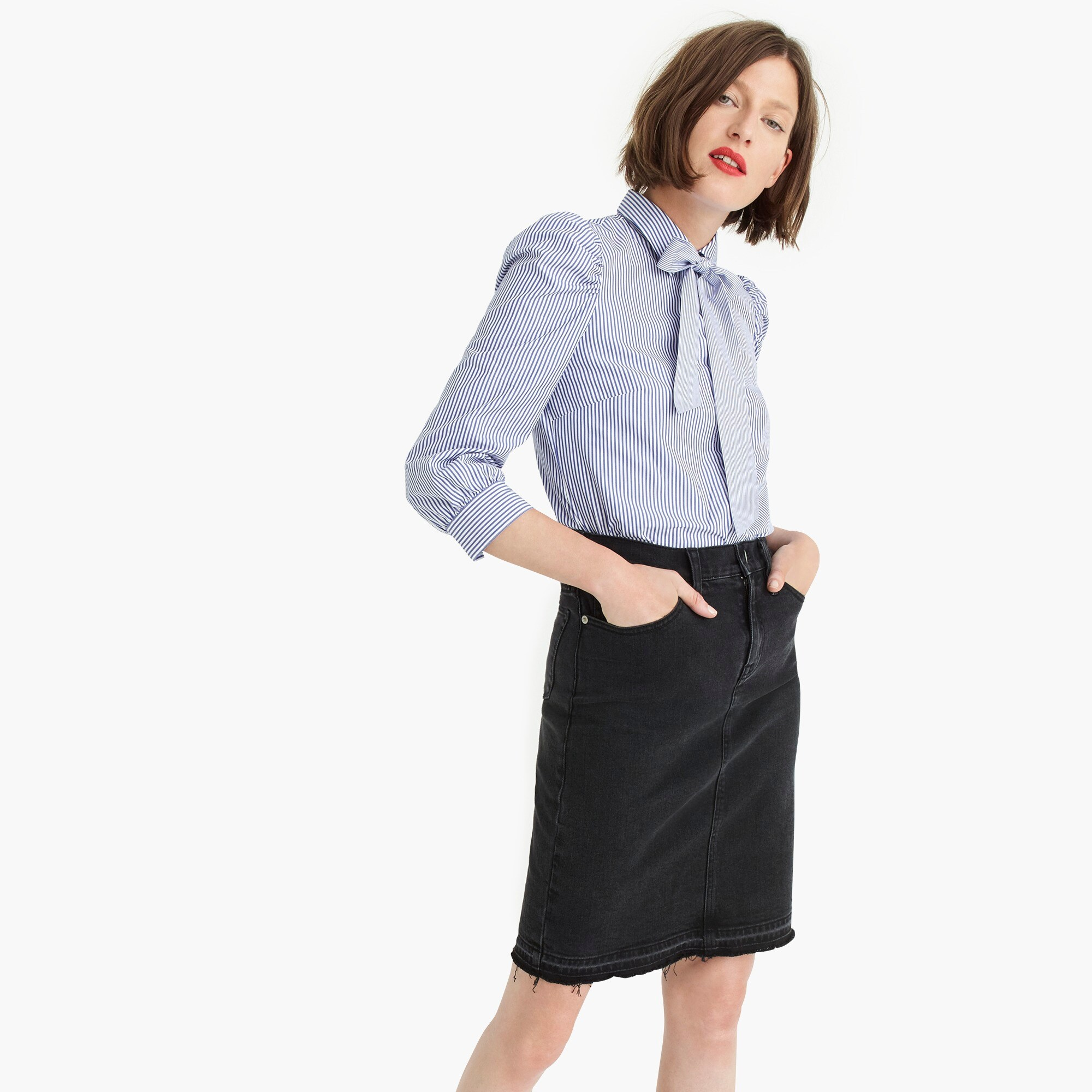 Image 1 for Black denim pencil skirt with let-out hem