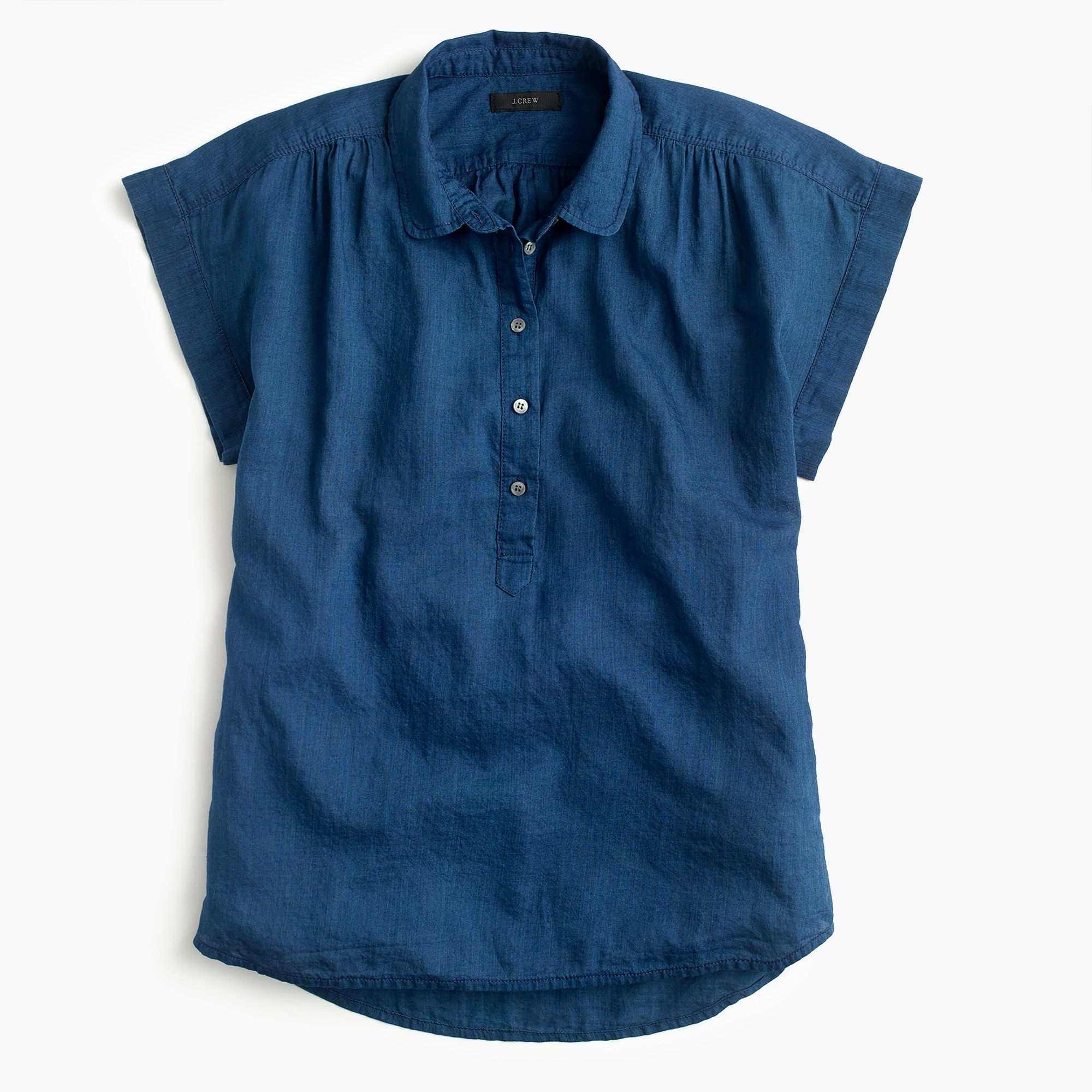Image 1 for Petite collared popover shirt in indigo gauze