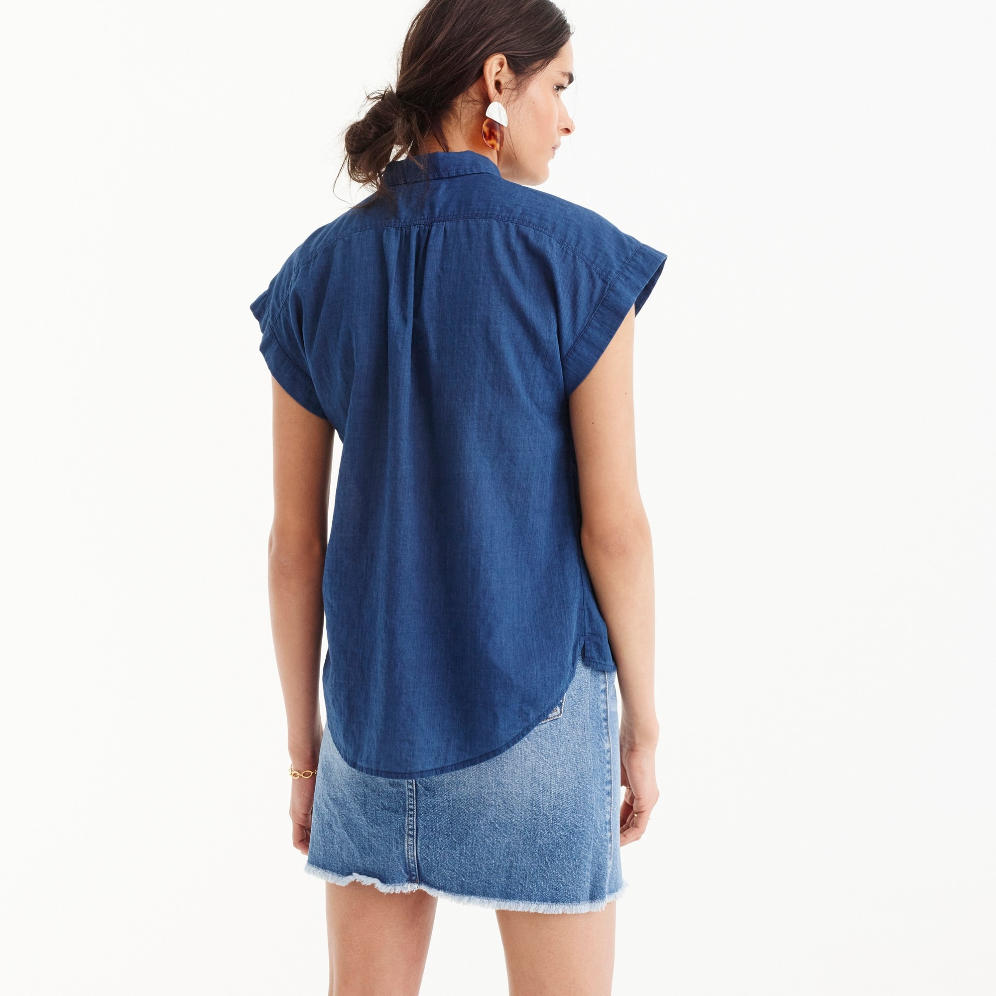 Image 4 for Petite collared popover shirt in indigo gauze