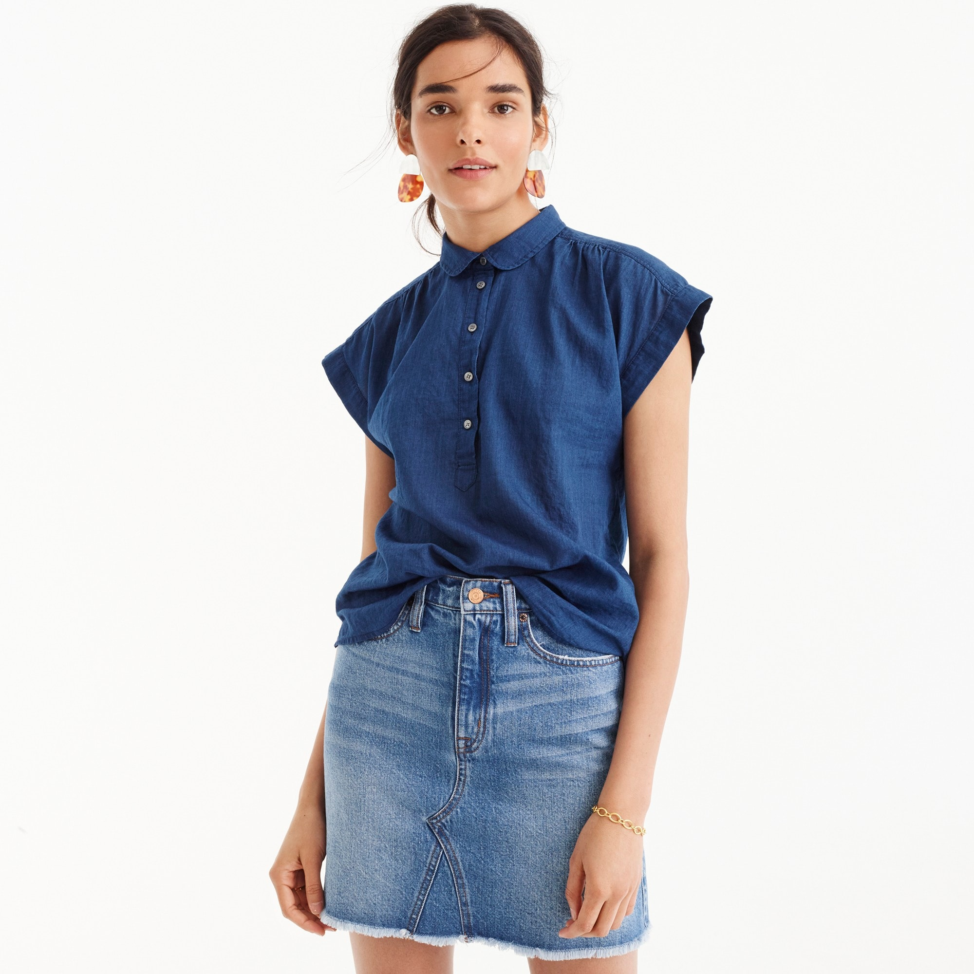 Petite collared popover shirt in indigo gauze