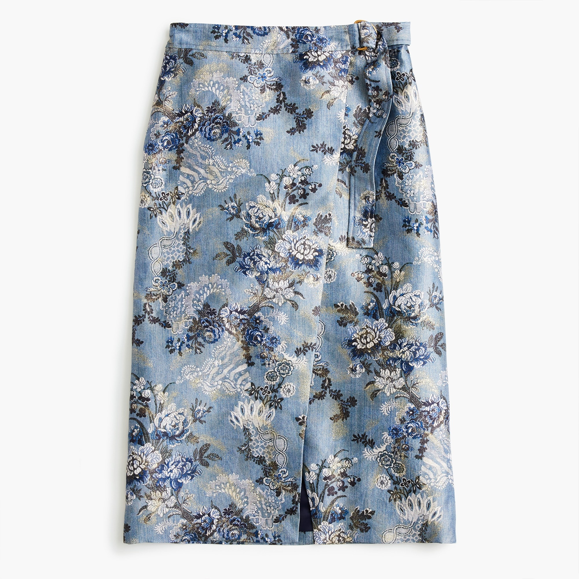 Collection wrap pencil skirt in floral jacquard