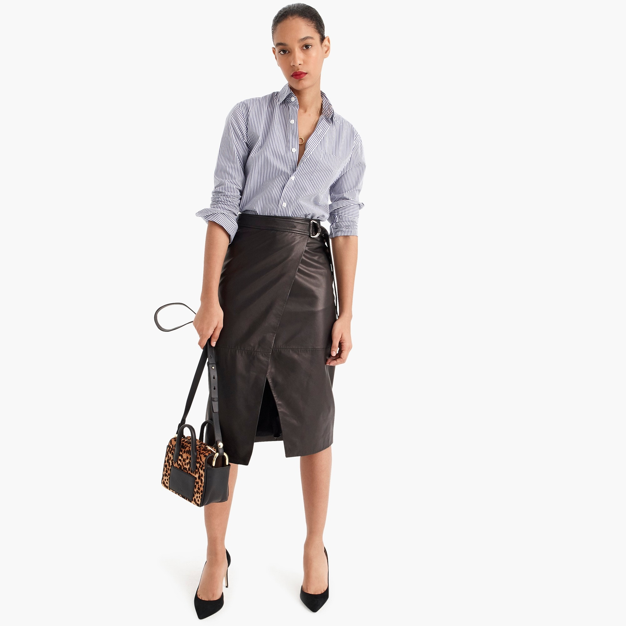Image 1 for Collection wrap pencil skirt in leather