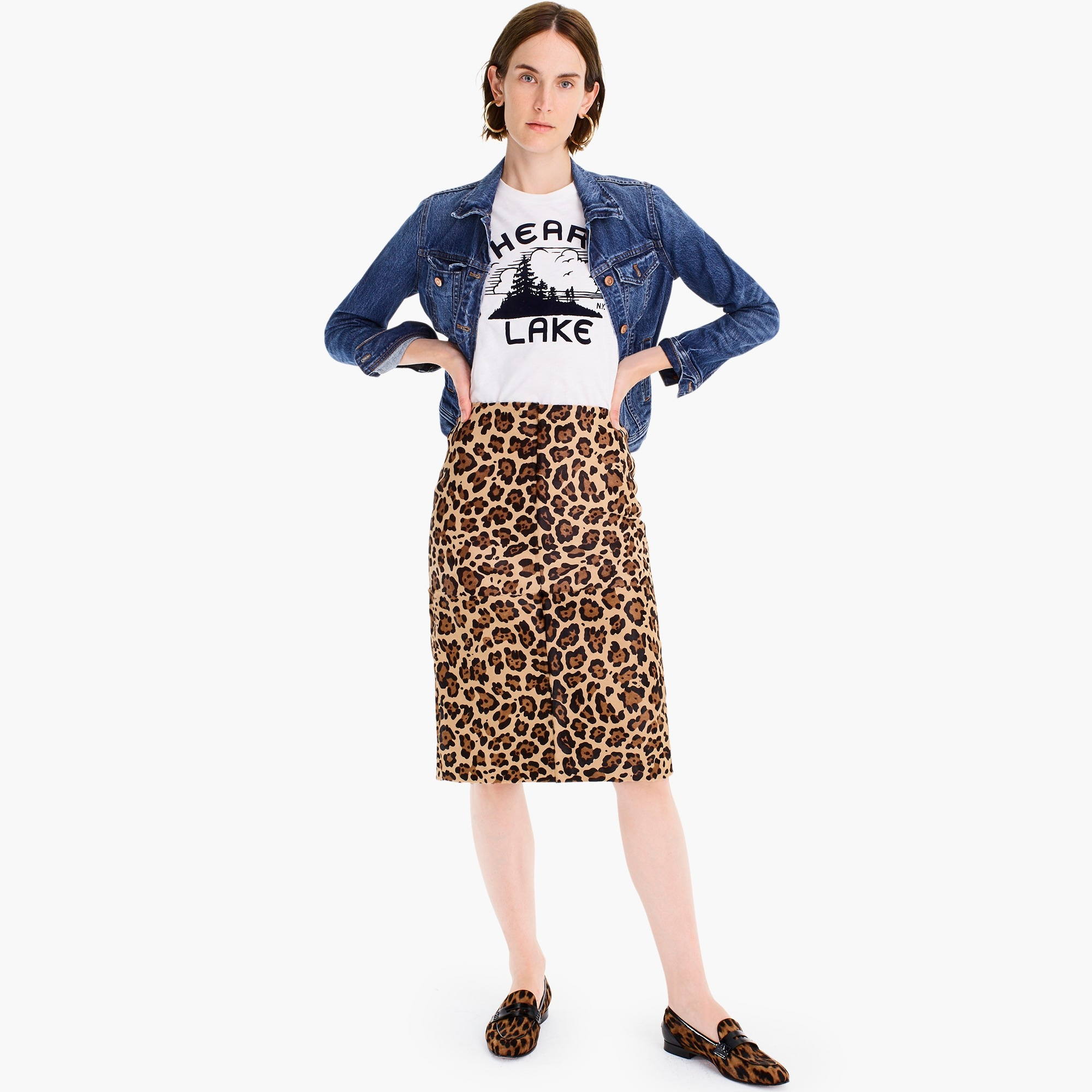 Image 4 for Collection leopard calf hair pencil skirt