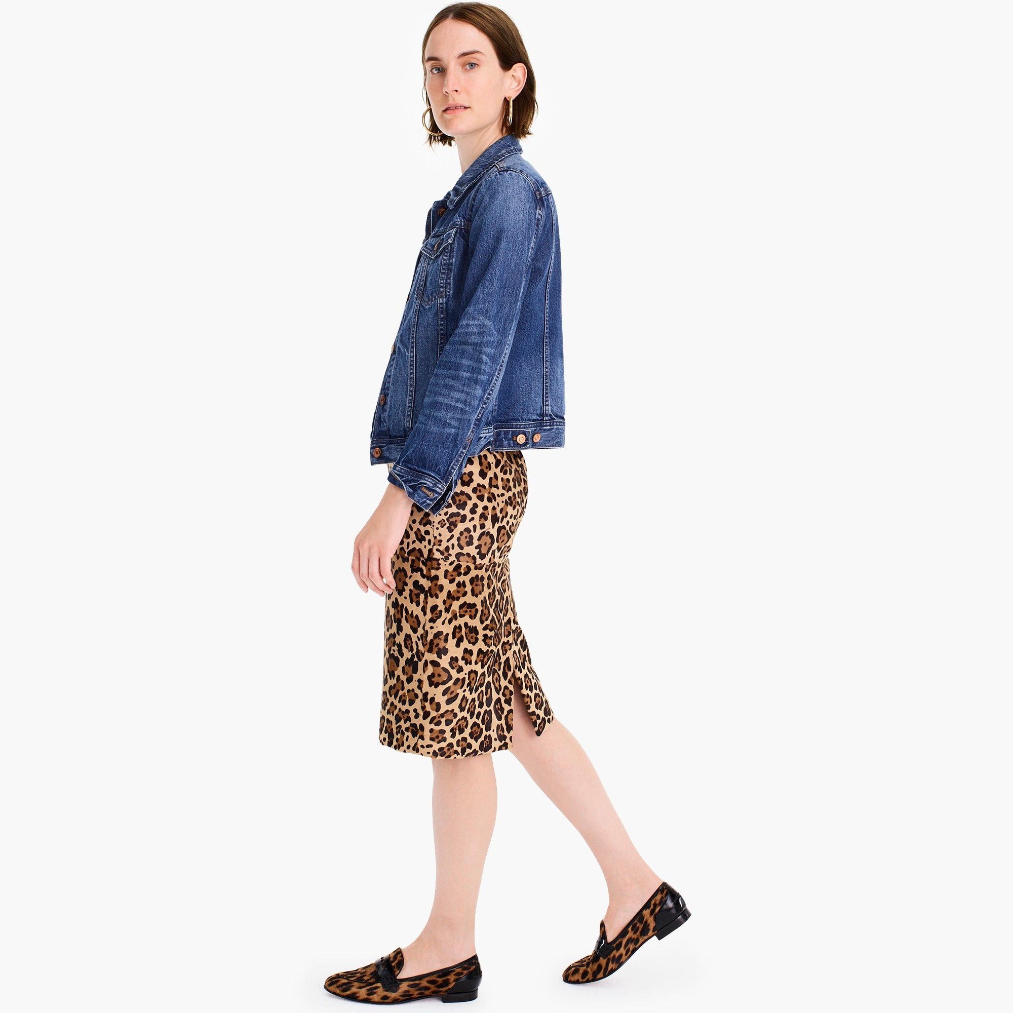 Collection leopard calf hair pencil skirt