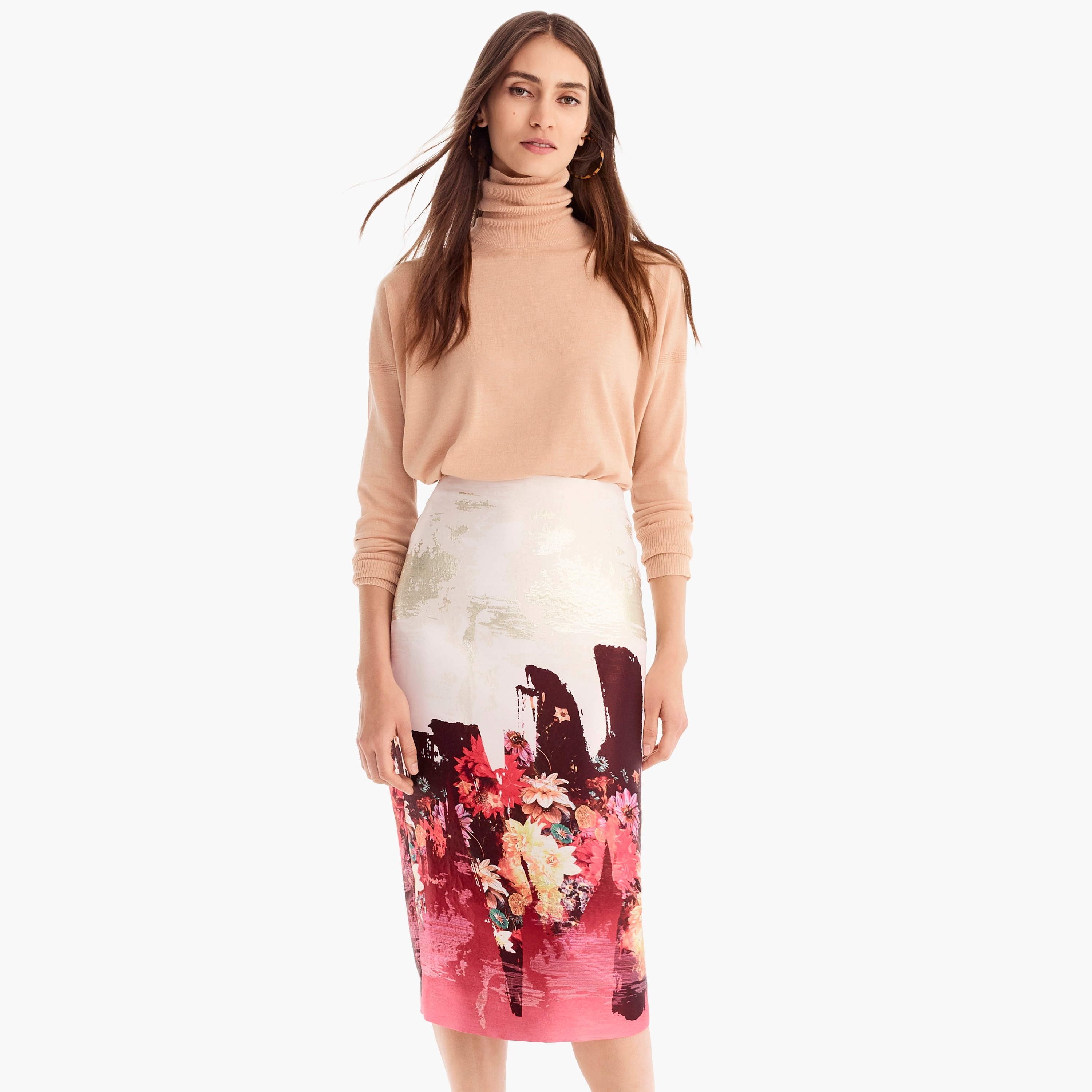 womens Collection floral jacquard painter pencil skirt