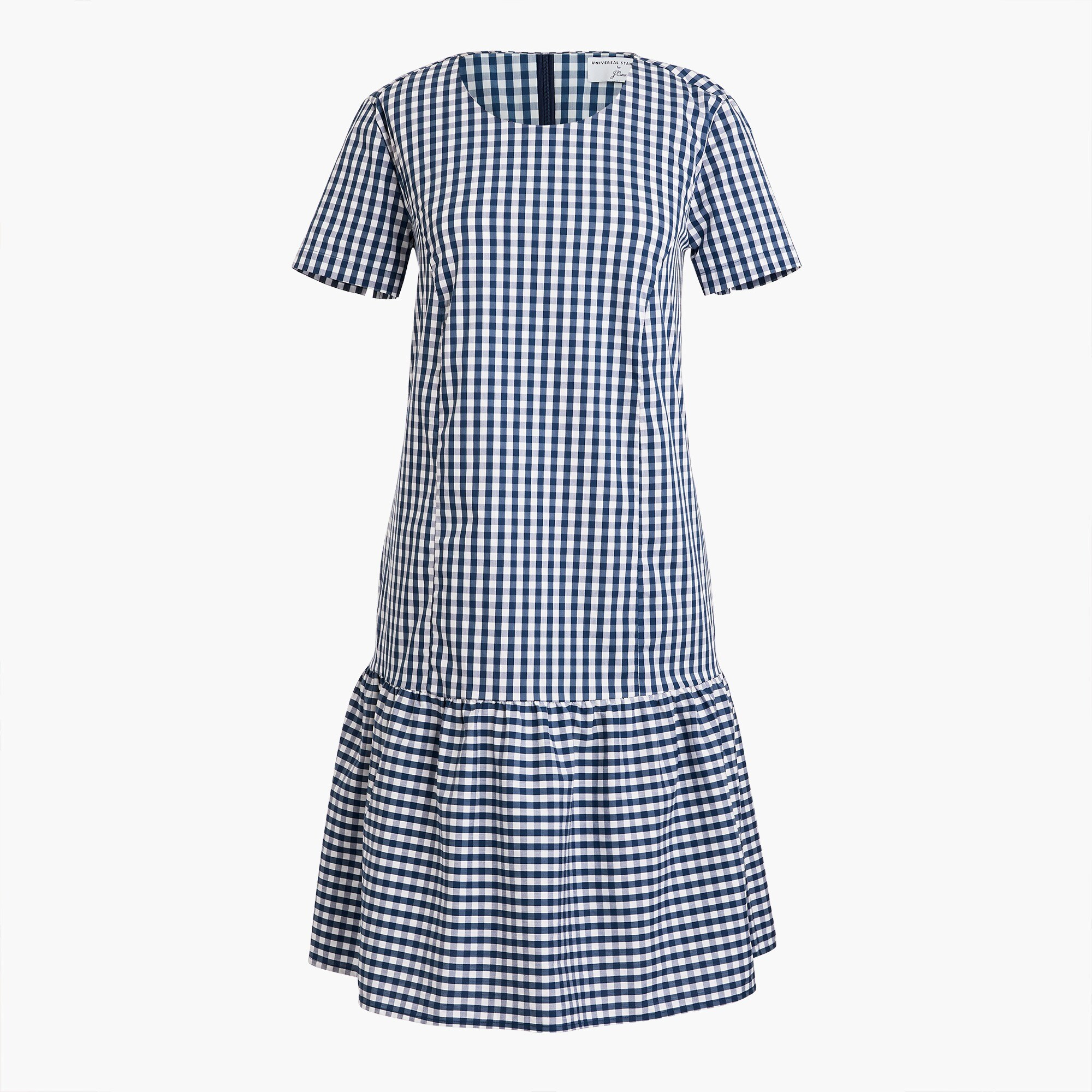 Universal Standard for J.Crew poplin drop-waist dress in gingham