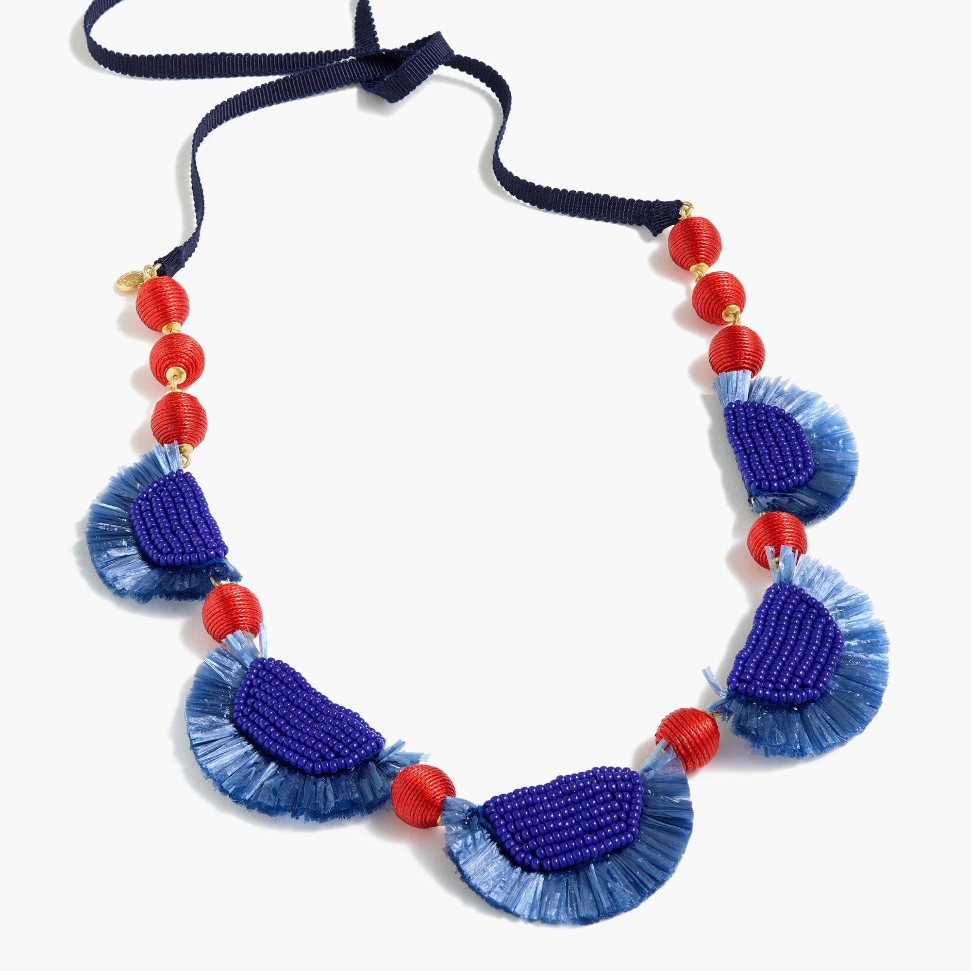 Bead-and-raffia necklace