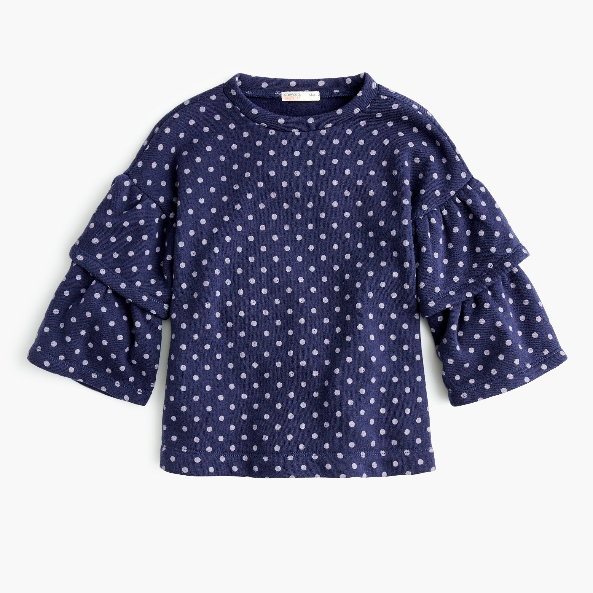 girls Girls' double ruffle-sleeve sweatshirt in dots