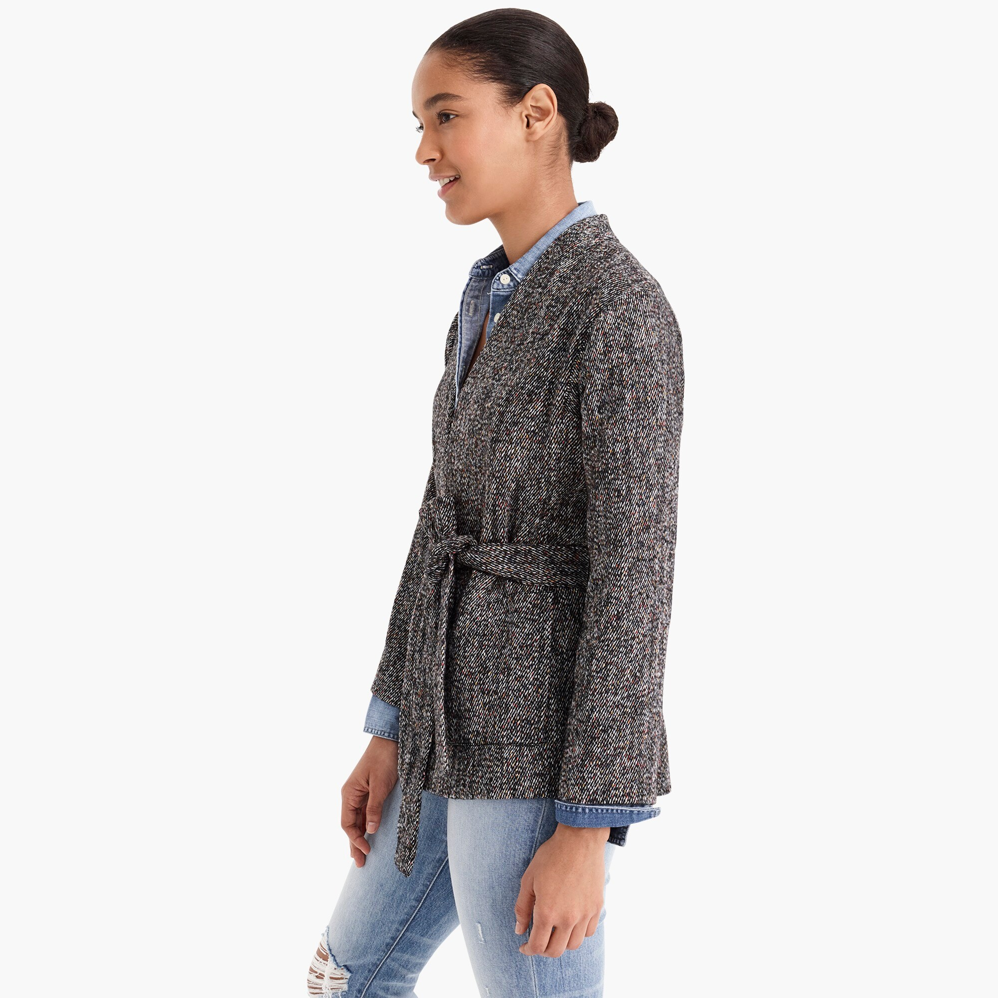 Point Sur wrap jacket in Donegal tweed